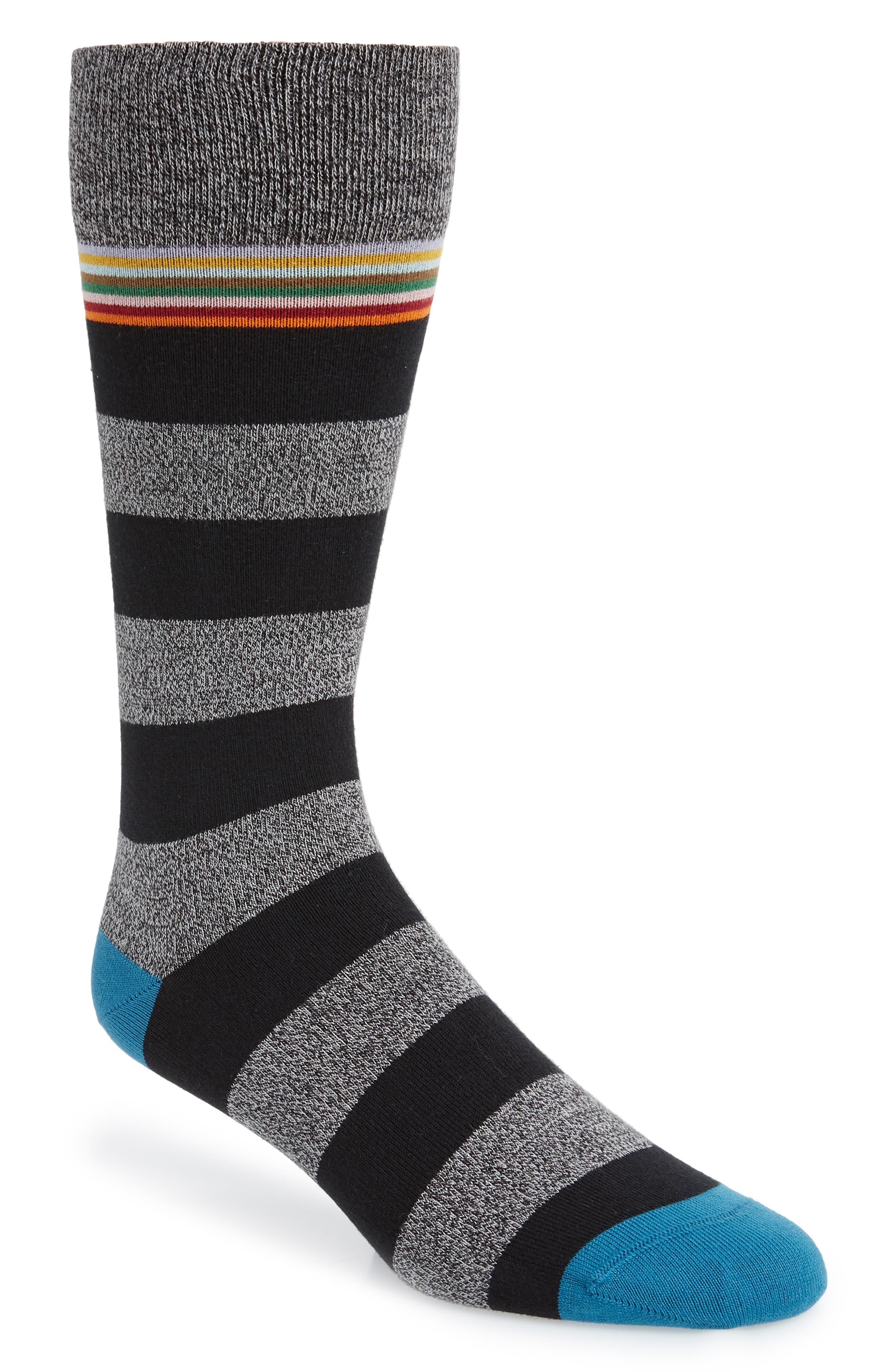 Sol Stripe Socks, Main, color, BLACK/ GREY/ BLUE