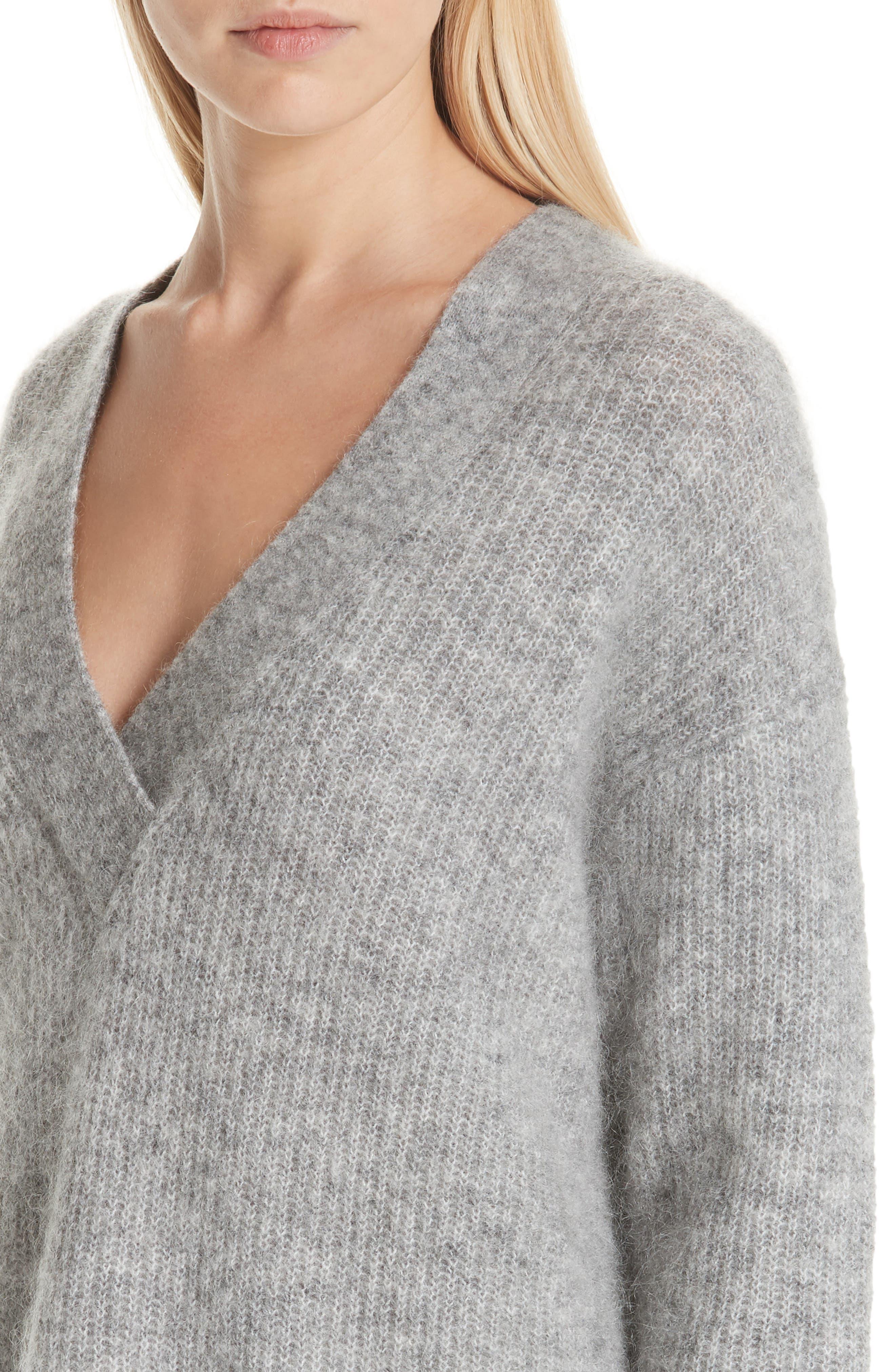 Soft Mohair Blend Knit Sweater,                             Alternate thumbnail 4, color,                             PALOMA MELANGE 921