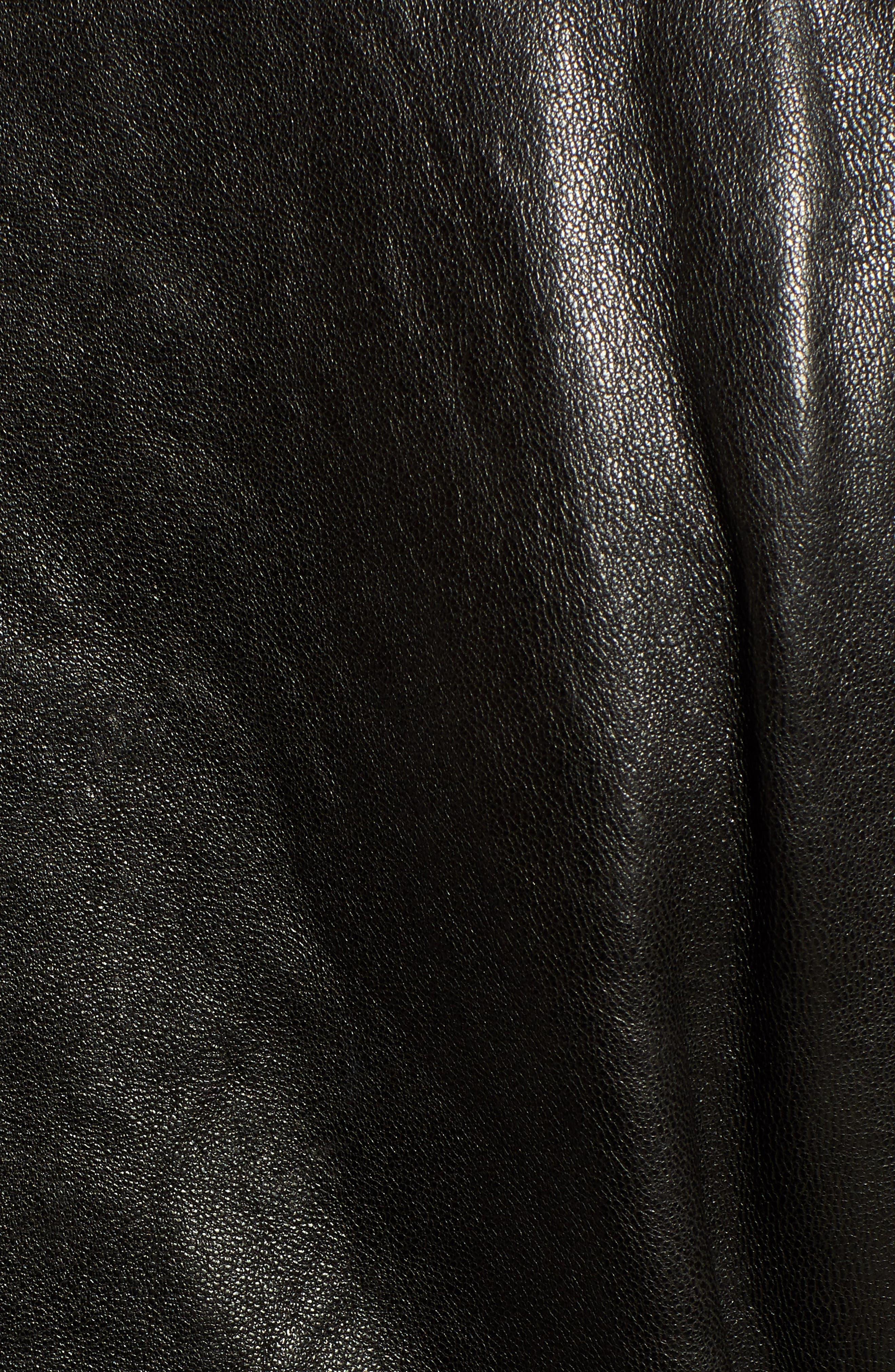 Washed Nappa Leather Moto Jacket,                             Alternate thumbnail 7, color,                             BLACK