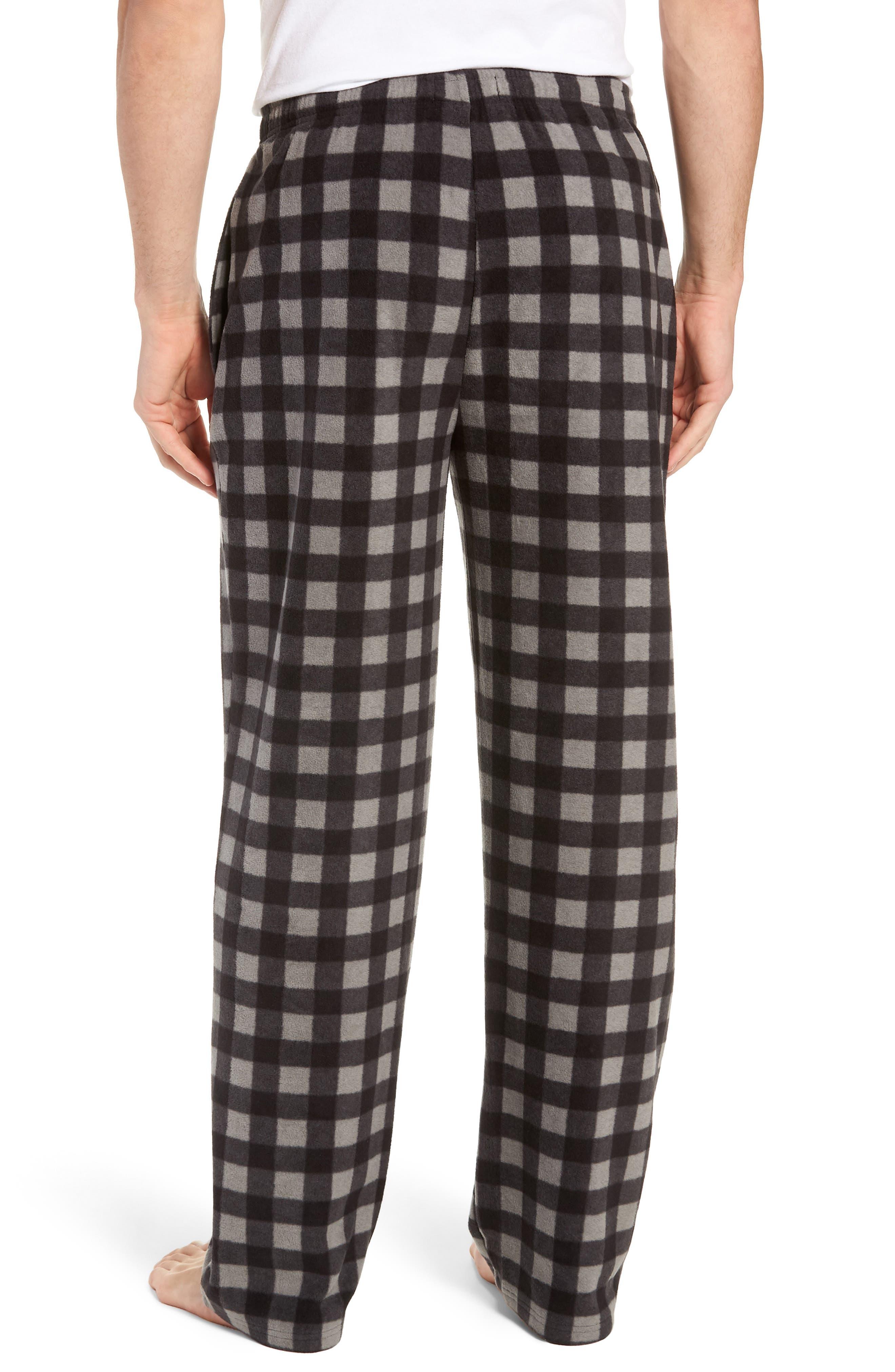 Print Microfleece Pajama Pants,                             Alternate thumbnail 2, color,                             GREY DECEMBER- BLACK BUFFALO