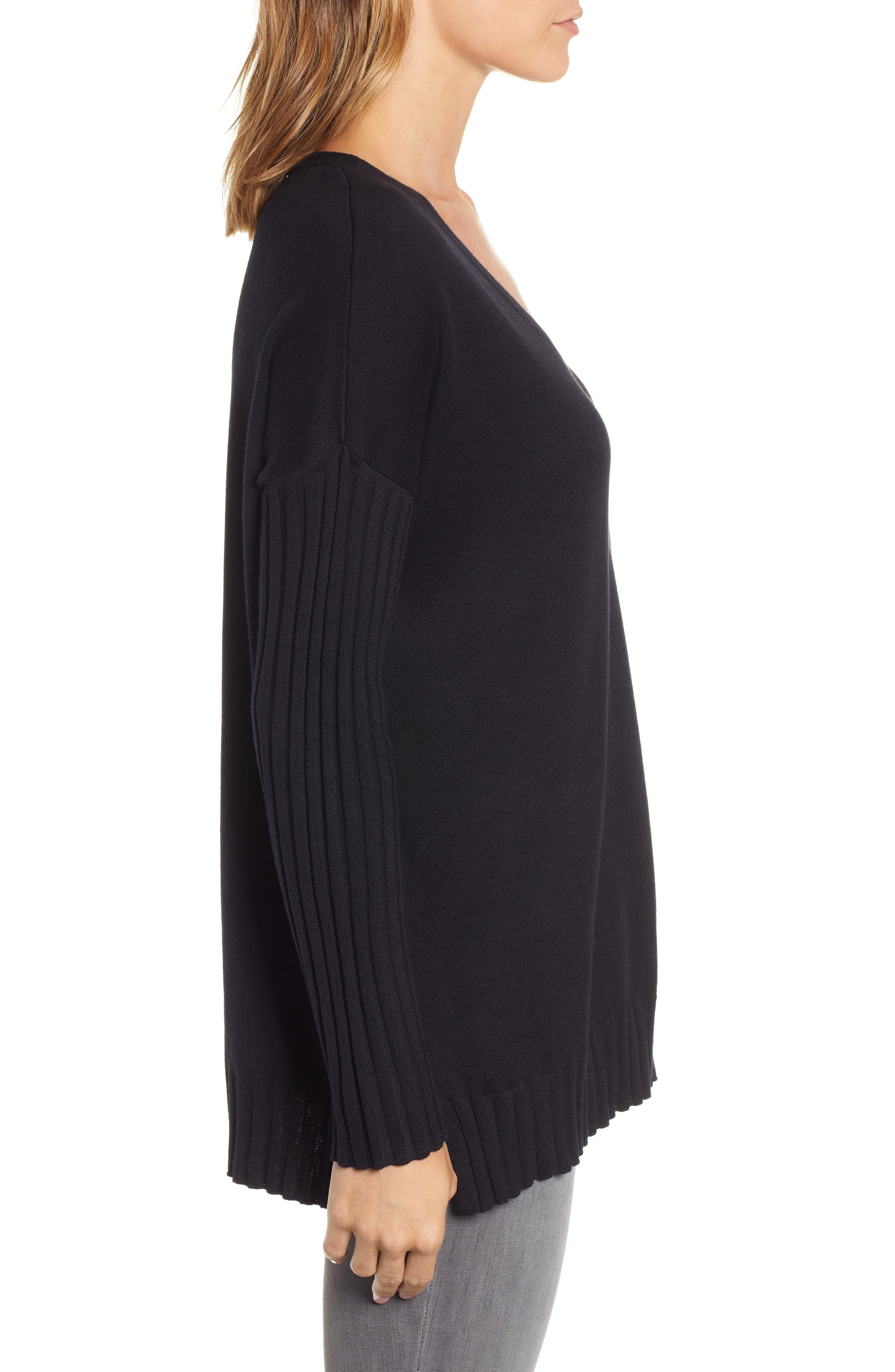 V-Neck Ribbed Sweater,                             Alternate thumbnail 3, color,                             RICH BLACK