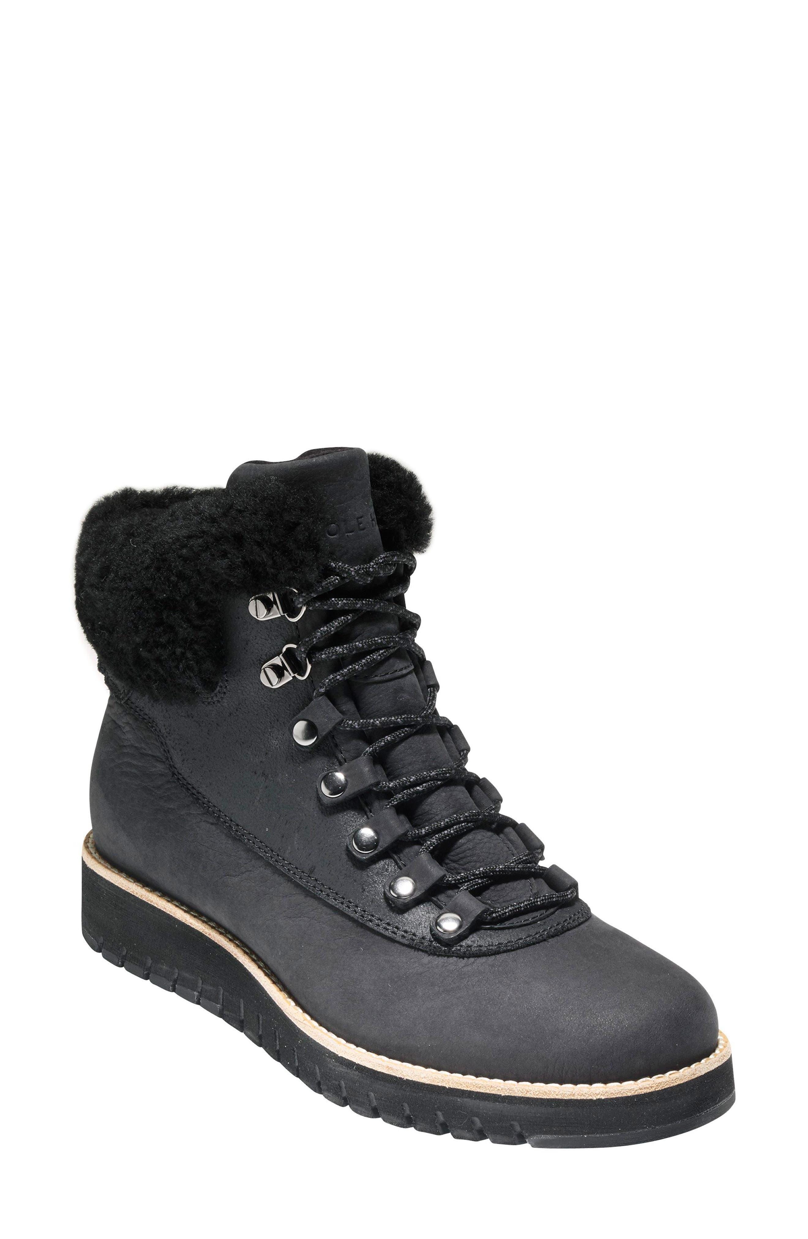 GrandExpløre Genuine Shearling Trim Waterproof Hiker Boot,                         Main,                         color, BLACK LEATHER
