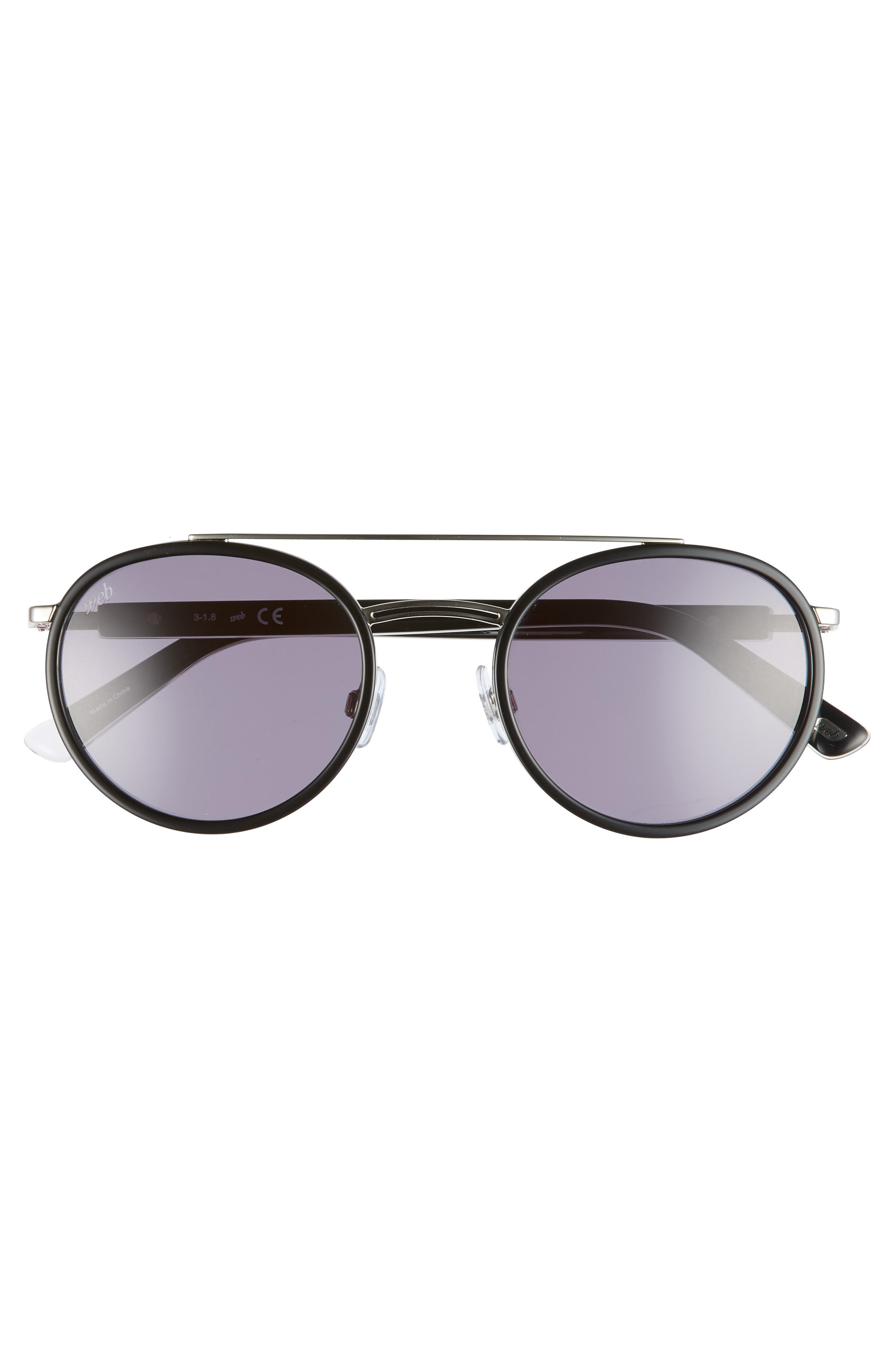 52mm Aviator Sunglasses,                             Alternate thumbnail 3, color,                             SHINY BLACK/ SMOKE