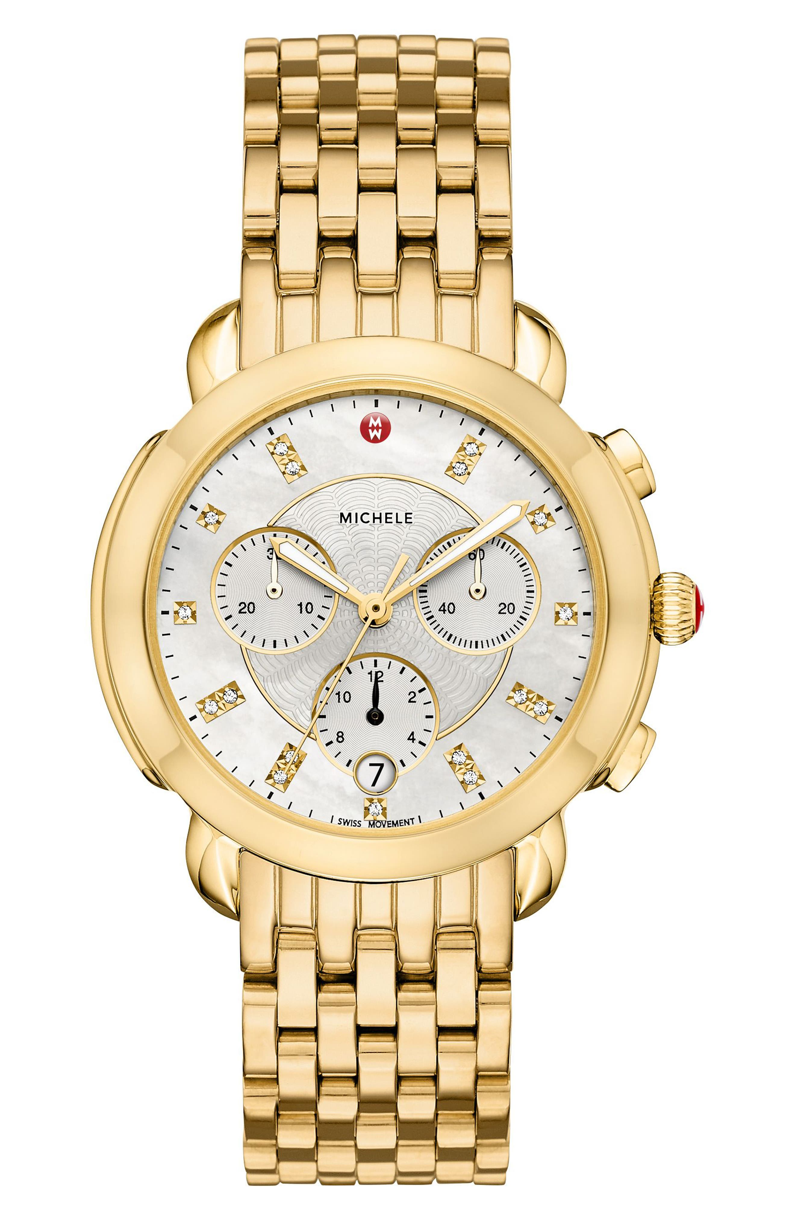 Sidney Chronograph Diamond Watch Head, 38mm,                             Alternate thumbnail 3, color,                             GOLD/ MOP