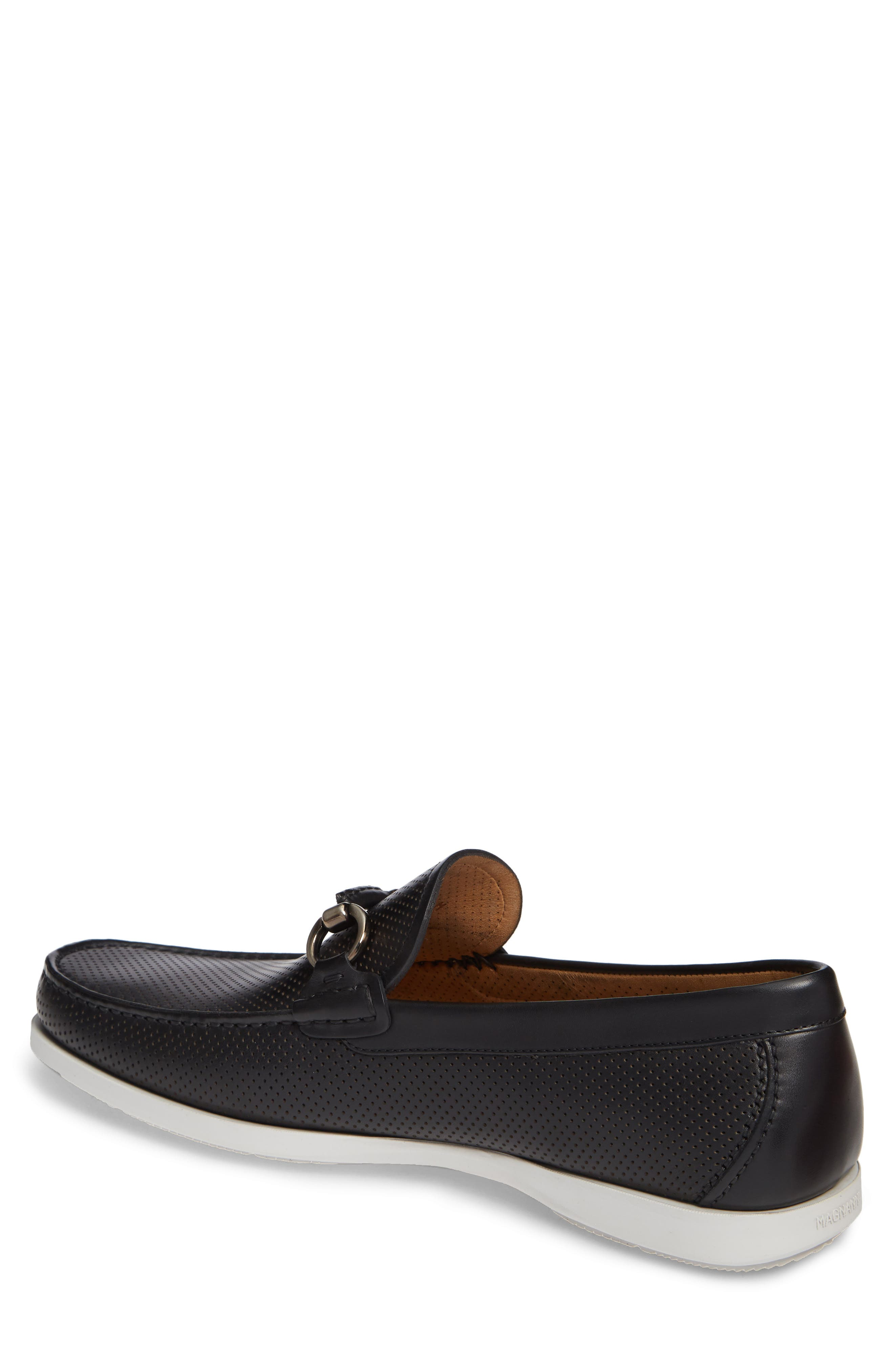 Beasley Perforated Moc Toe Bit Loafer,                             Alternate thumbnail 2, color,                             BLACK LEATHER