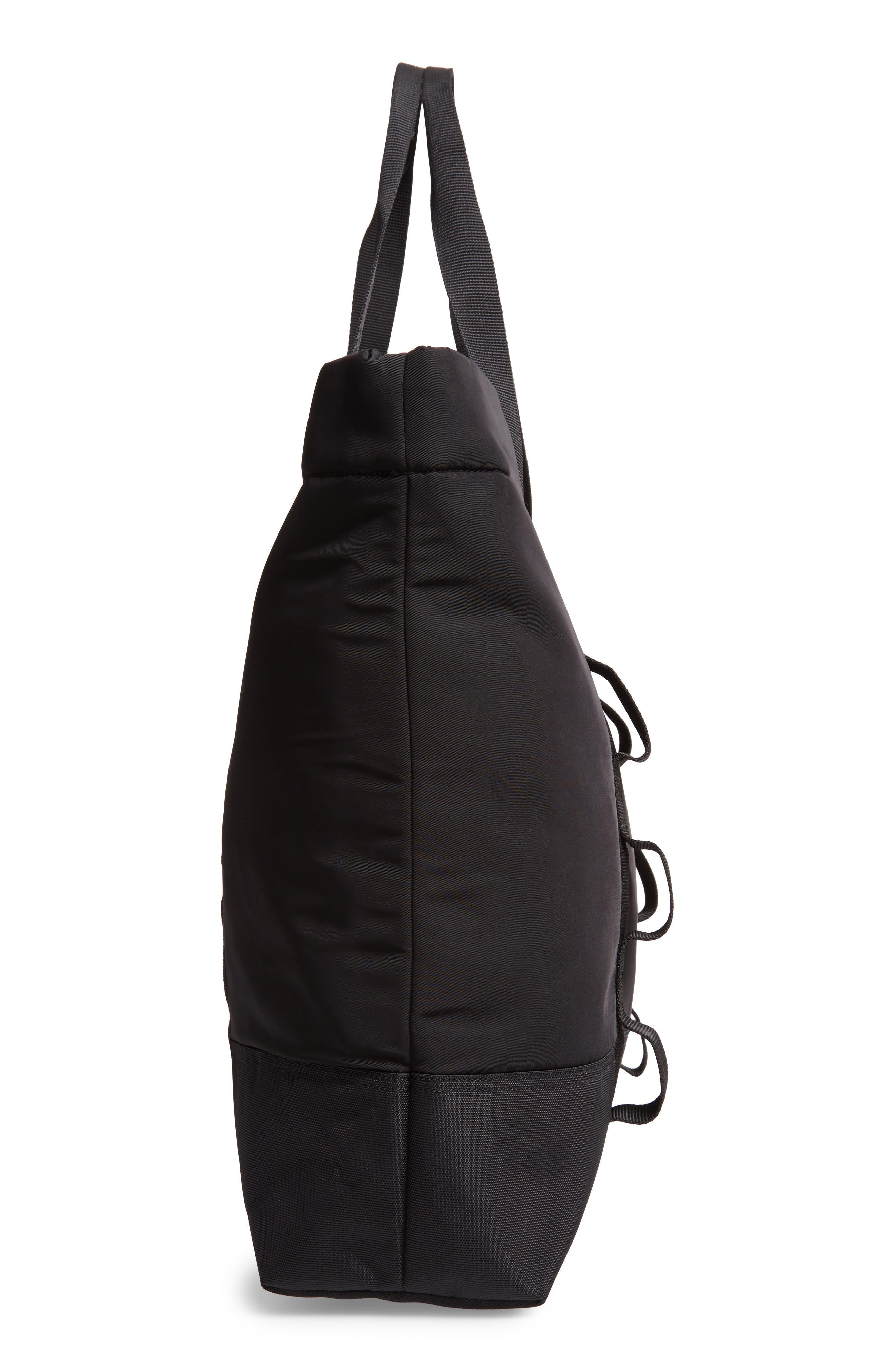 Military Shopper Tote Bag,                             Alternate thumbnail 5, color,                             BLACK / BLACK