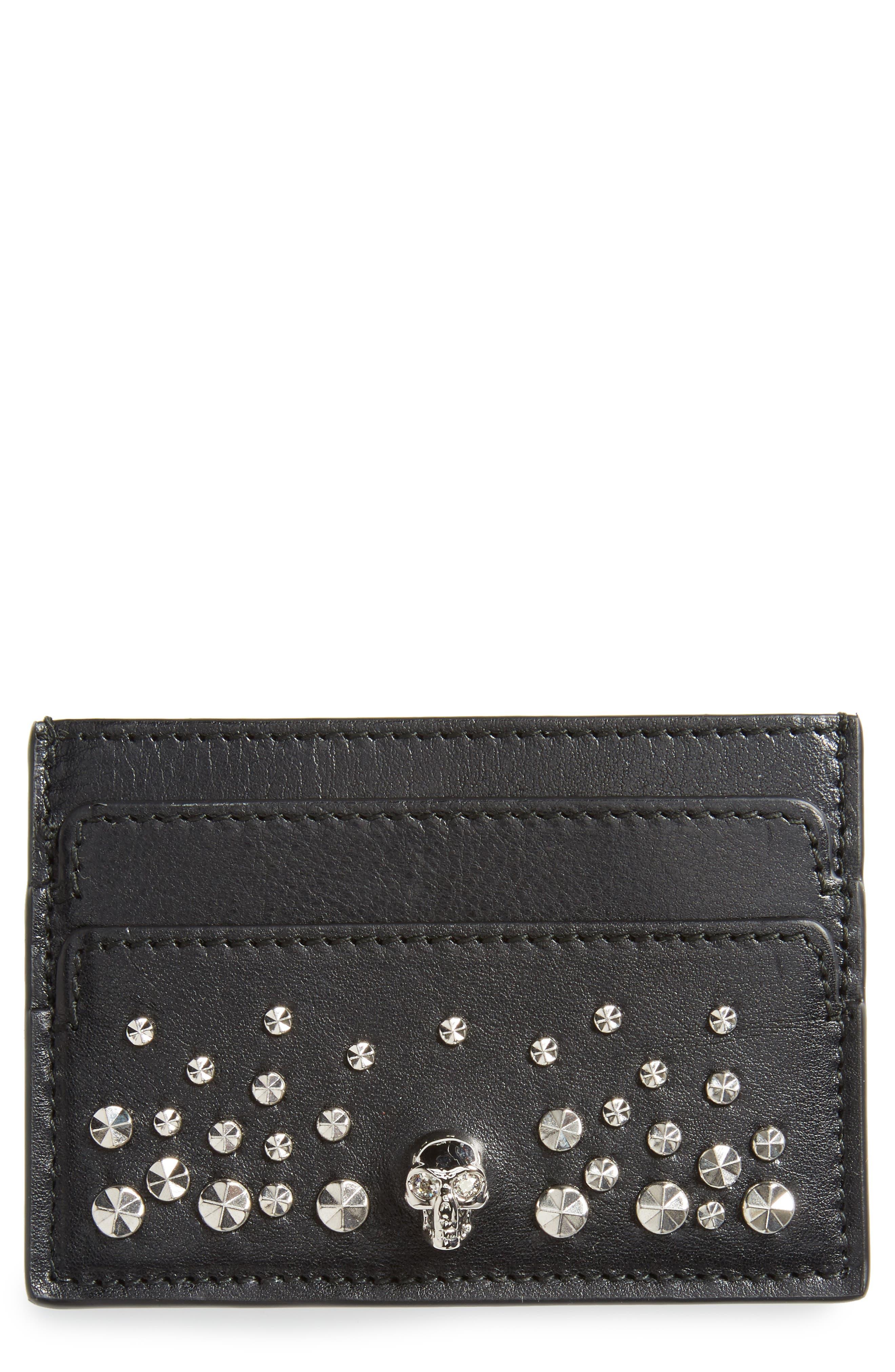 Skull & Studs Leather Card Case,                         Main,                         color, BLACK