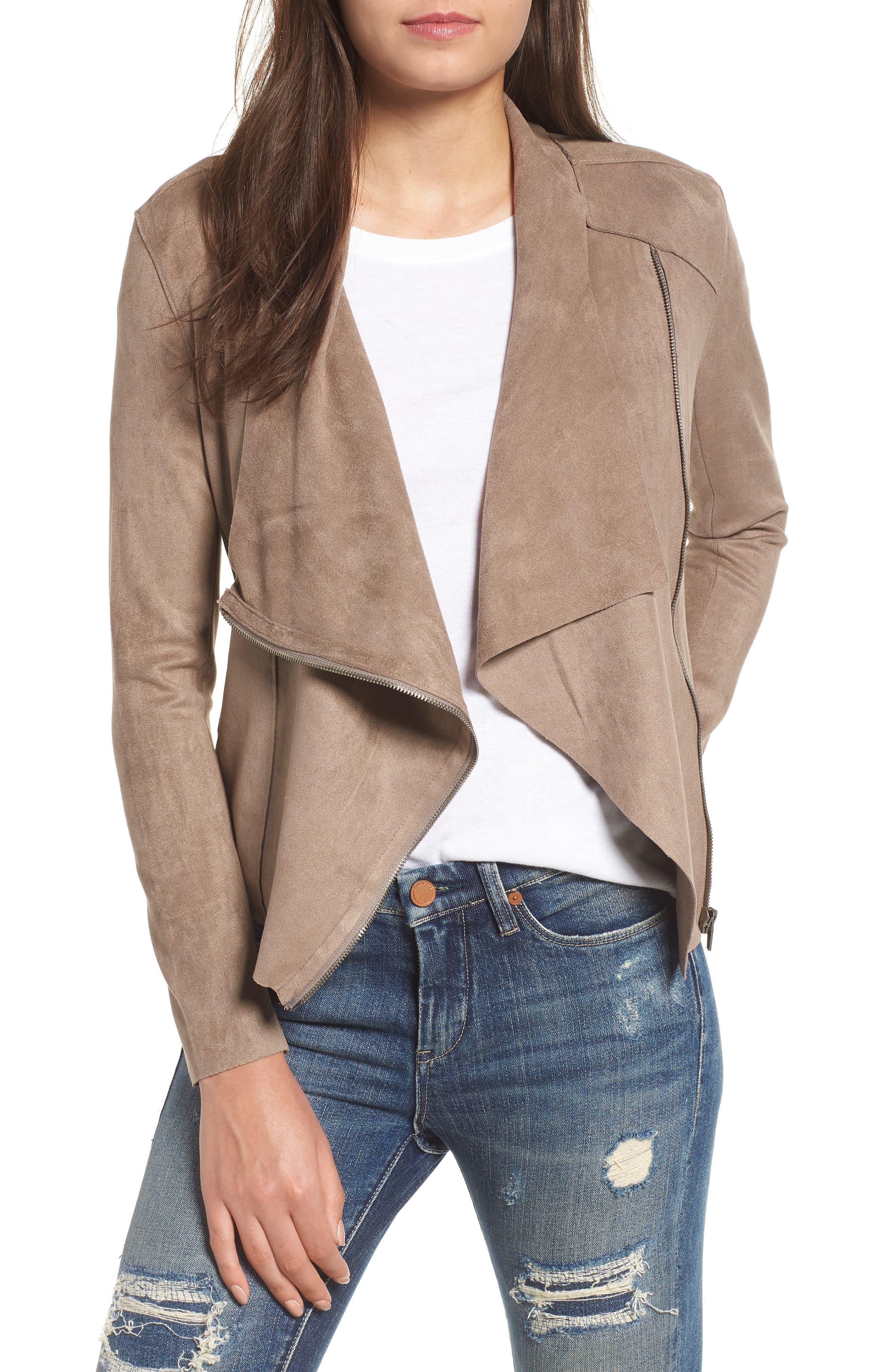 Drape Front Faux Suede Jacket,                         Main,                         color, MT RUSHMORE