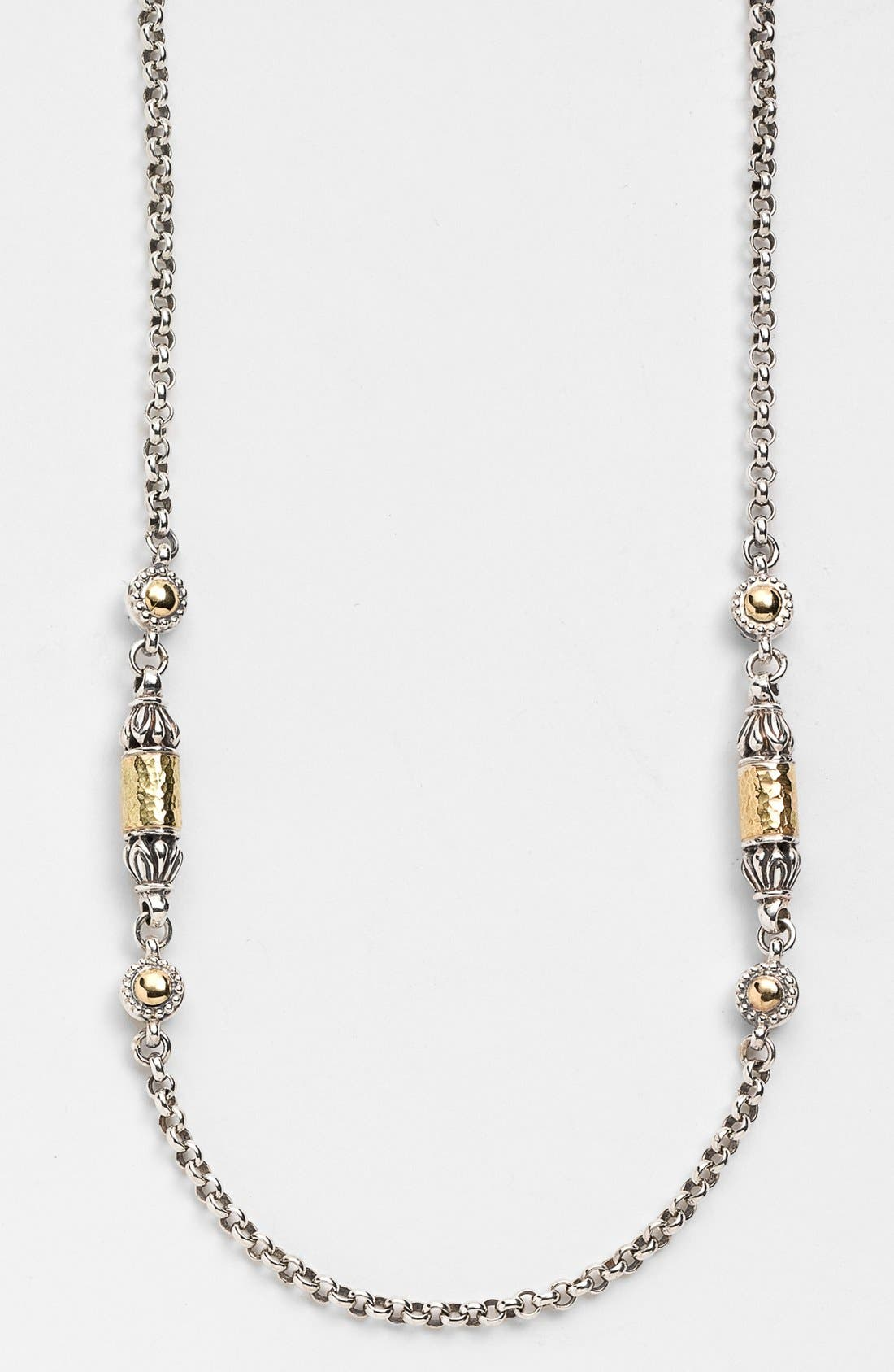 'Classics' Two-Tone Hammered Station Necklace,                         Main,                         color, SILVER/ GOLD