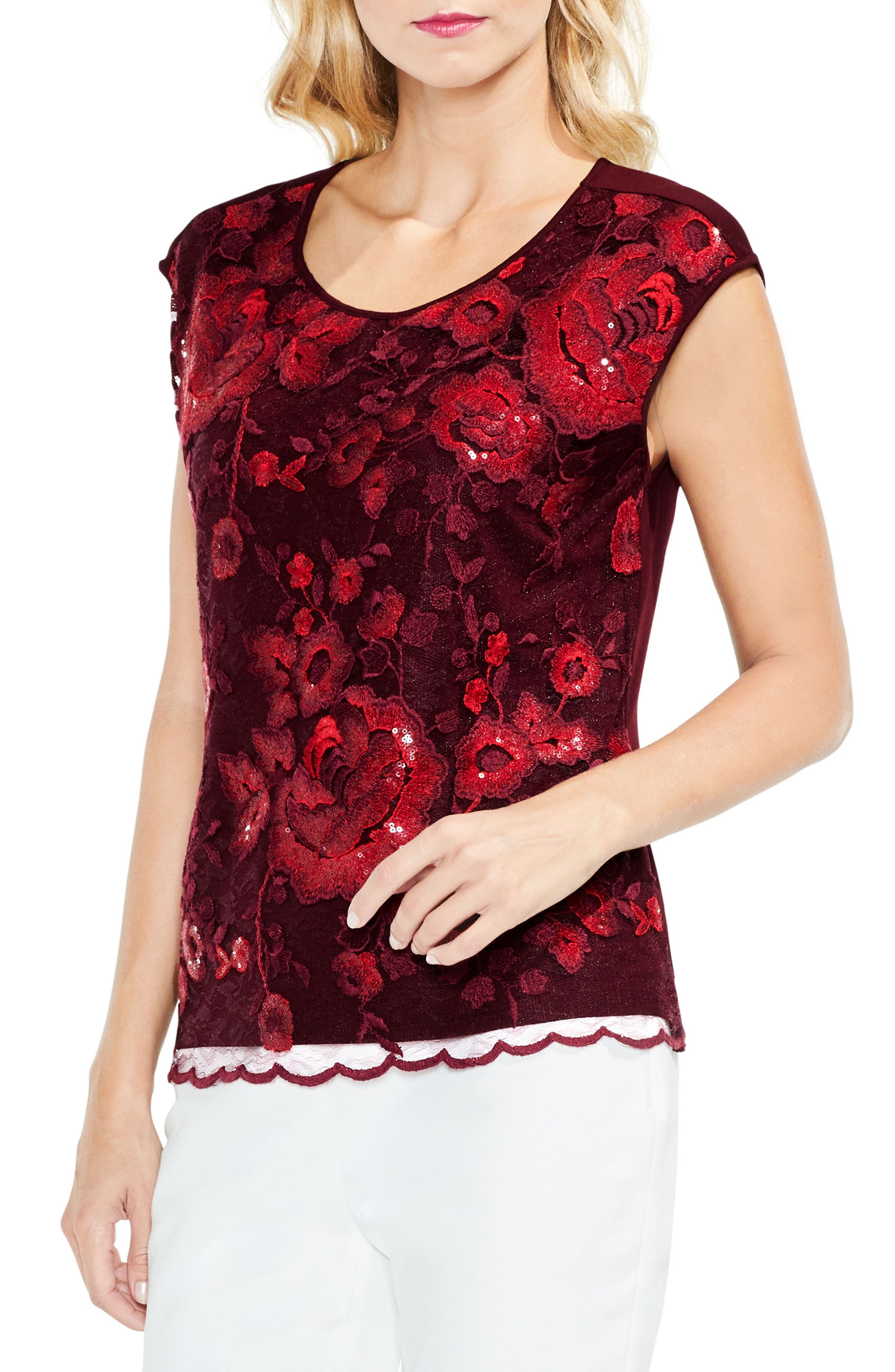 Sequin Lace Blouse,                             Main thumbnail 2, color,