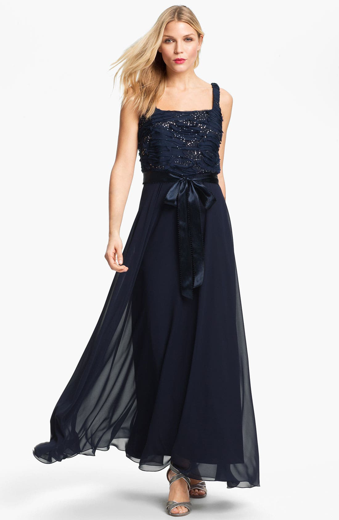 Embellished Chiffon Gown & Jacket,                             Alternate thumbnail 4, color,                             414
