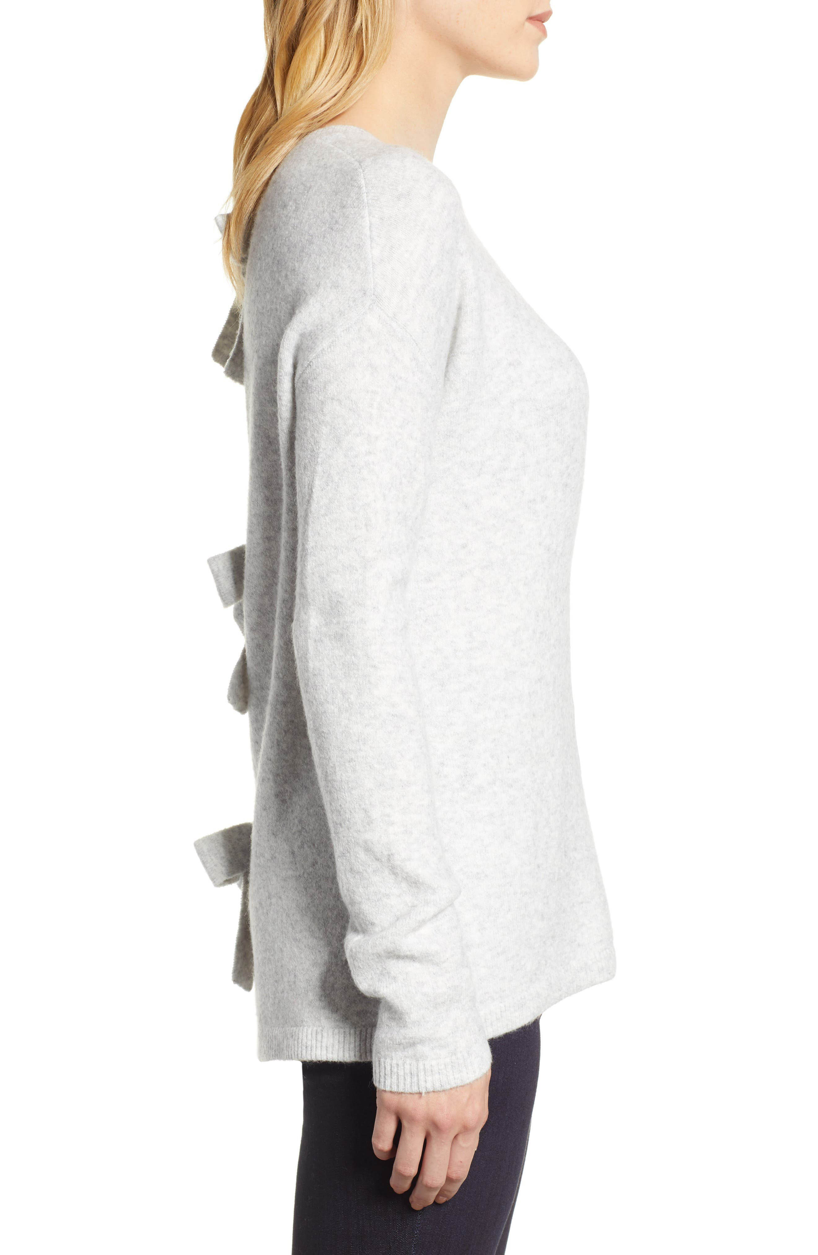 Bow Back Sweater,                             Alternate thumbnail 3, color,                             HEATHER LIGHT GREY