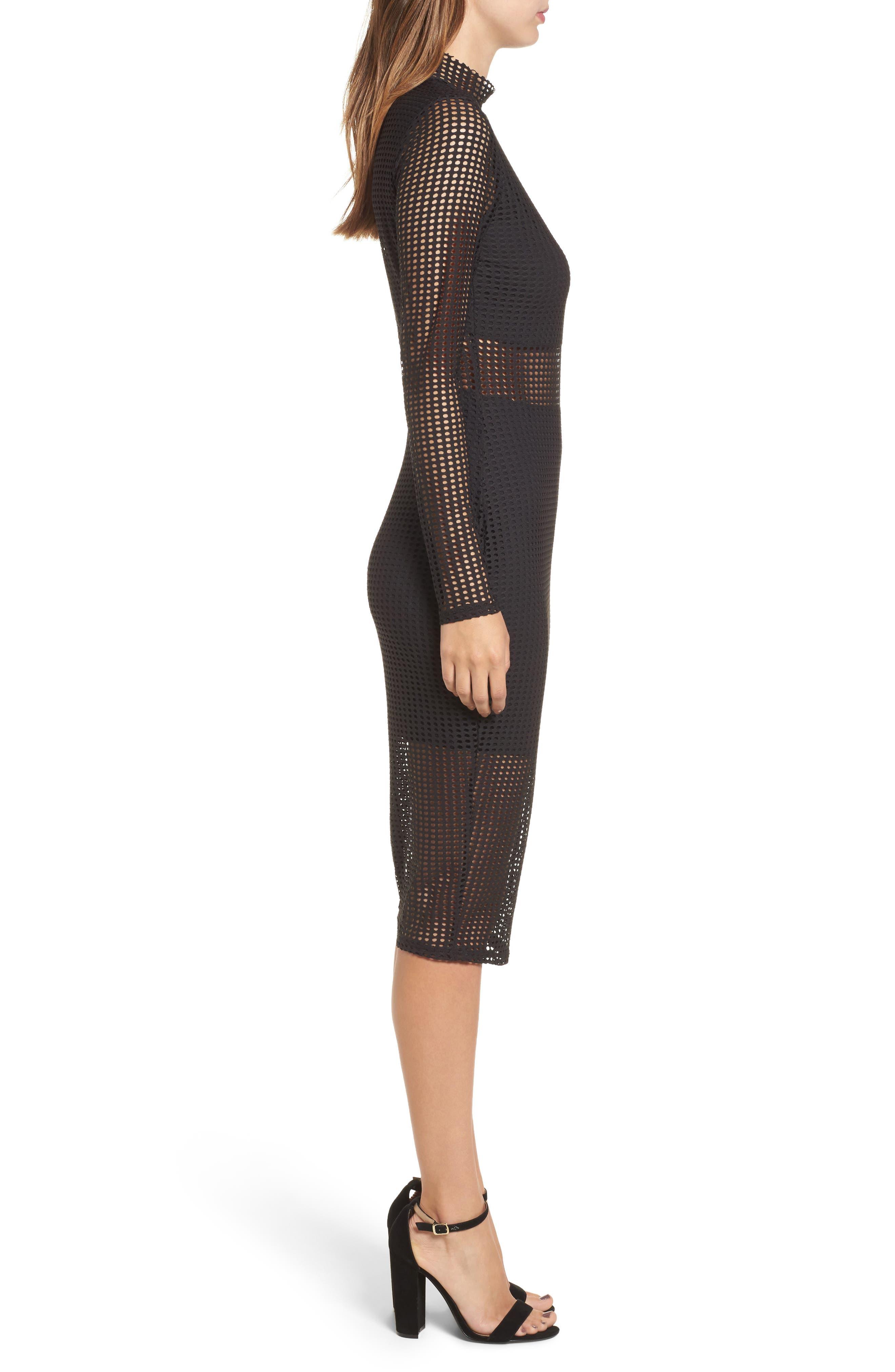 Laser Cut Body-Con Dress,                             Alternate thumbnail 3, color,                             001