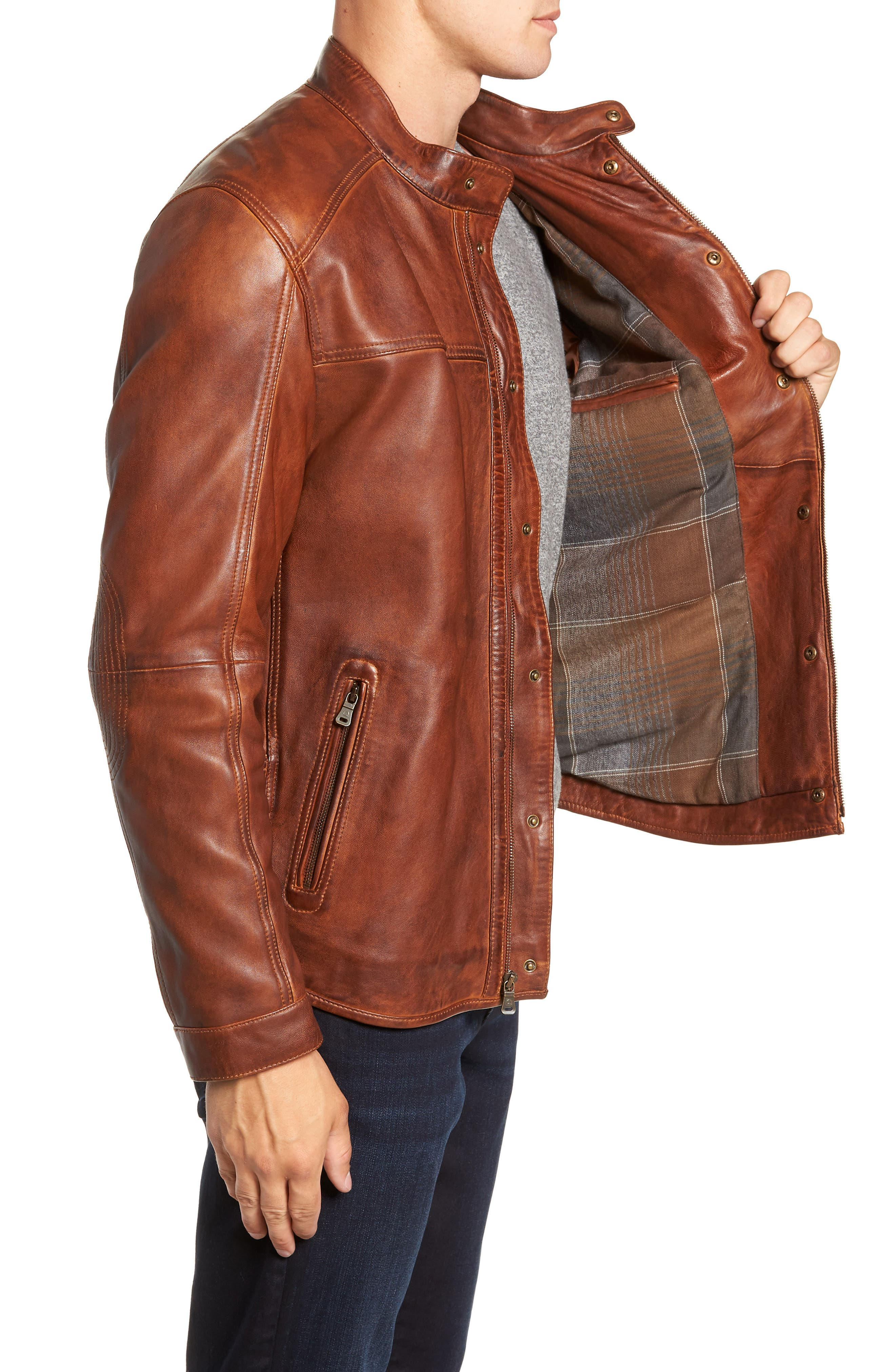 Leather Jacket,                             Alternate thumbnail 3, color,                             BROWN