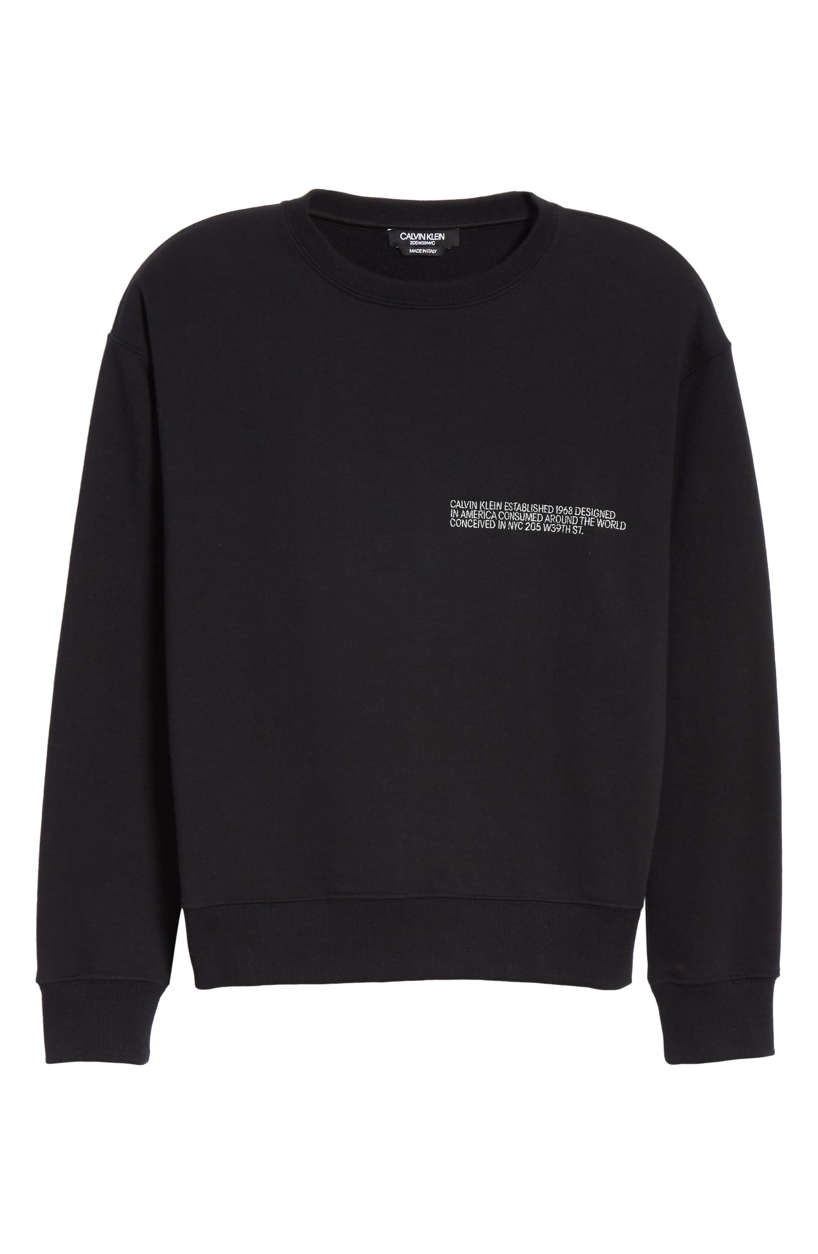 Established Embroidered Sweatshirt,                             Alternate thumbnail 6, color,                             BLACK