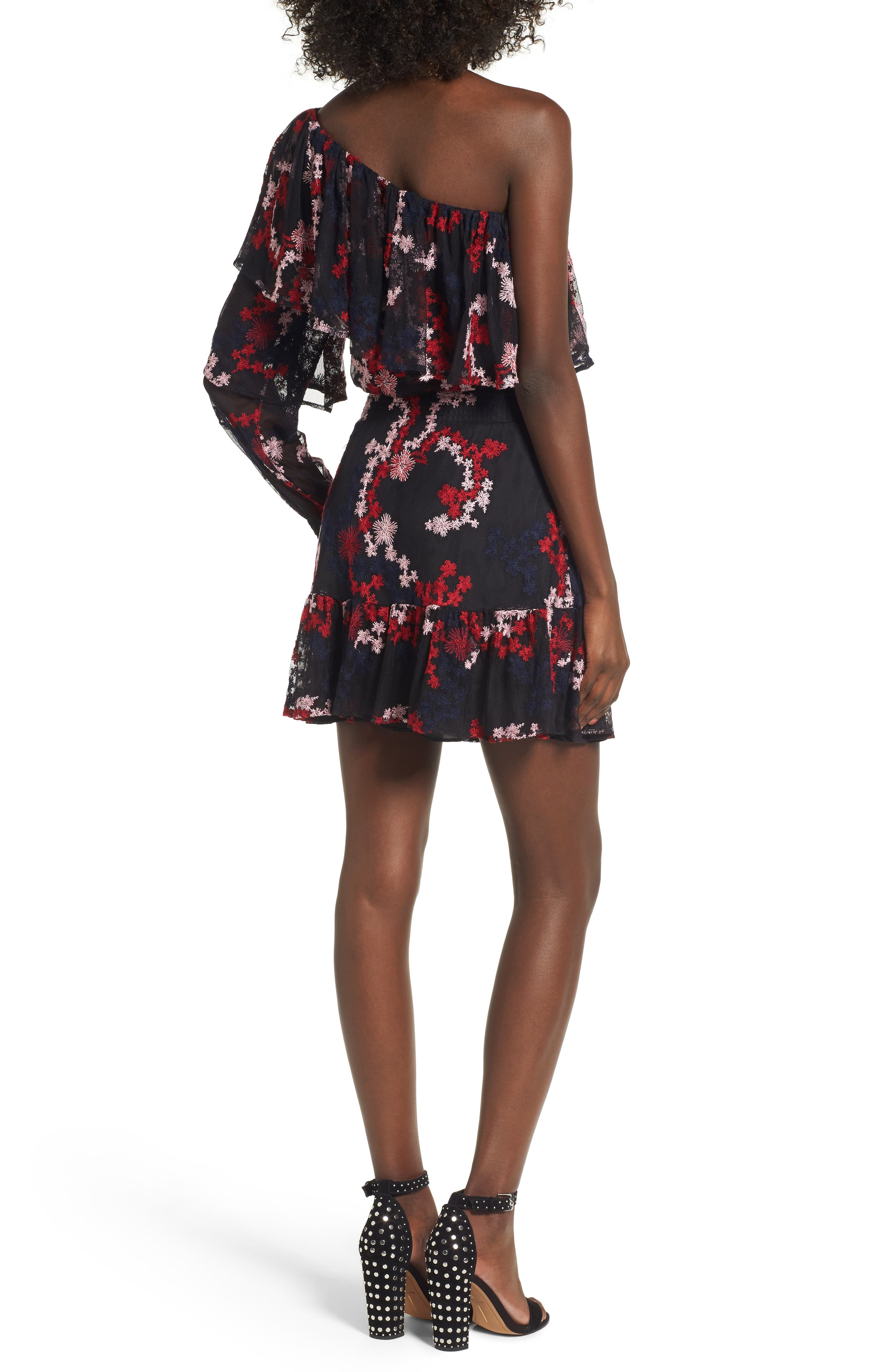 Irina One-Shoulder Blouson Dress,                             Alternate thumbnail 2, color,                             600