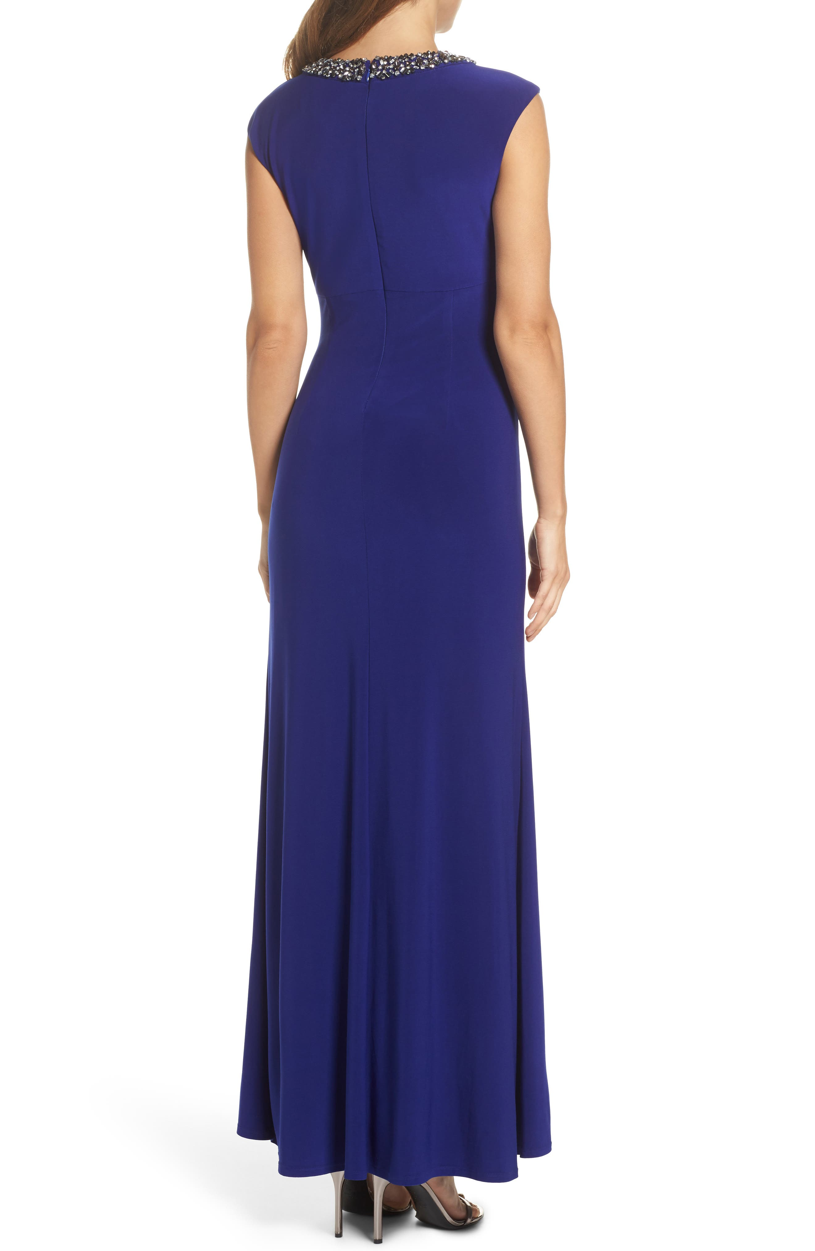 Jeweled Neck Column Gown,                             Alternate thumbnail 2, color,                             430