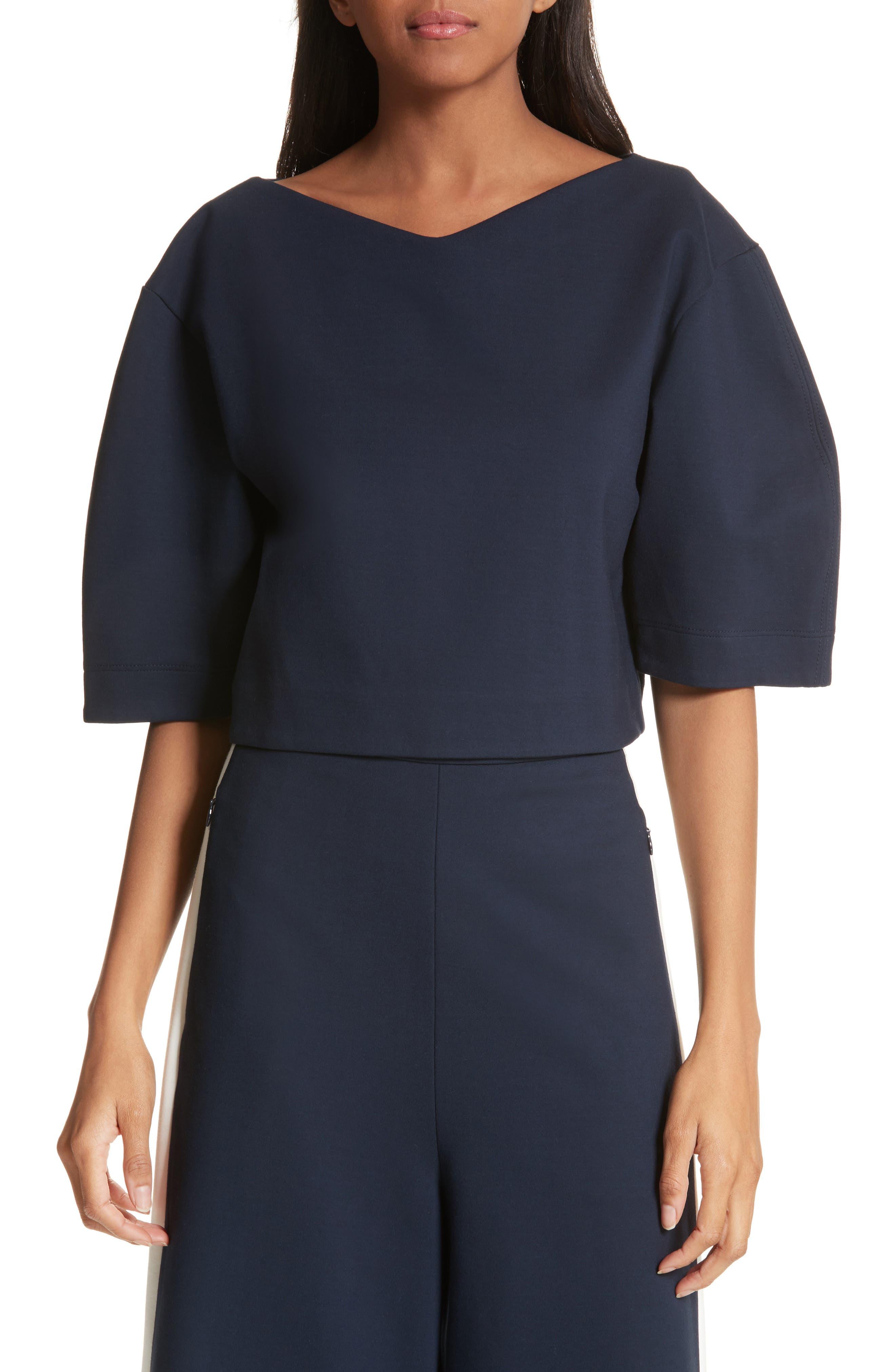 Tibi Bond Stretch Knit Crop Top, Blue