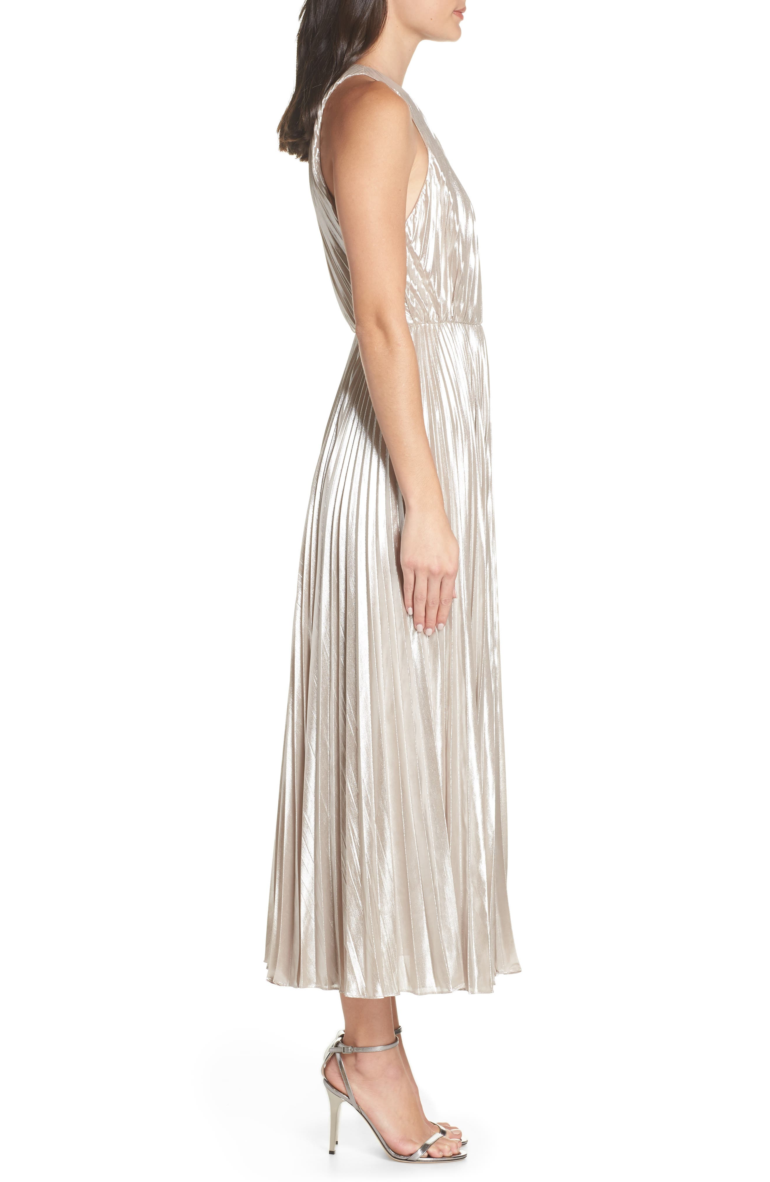 Pleated Metallic Dress,                             Alternate thumbnail 3, color,                             CHAMPAGNE