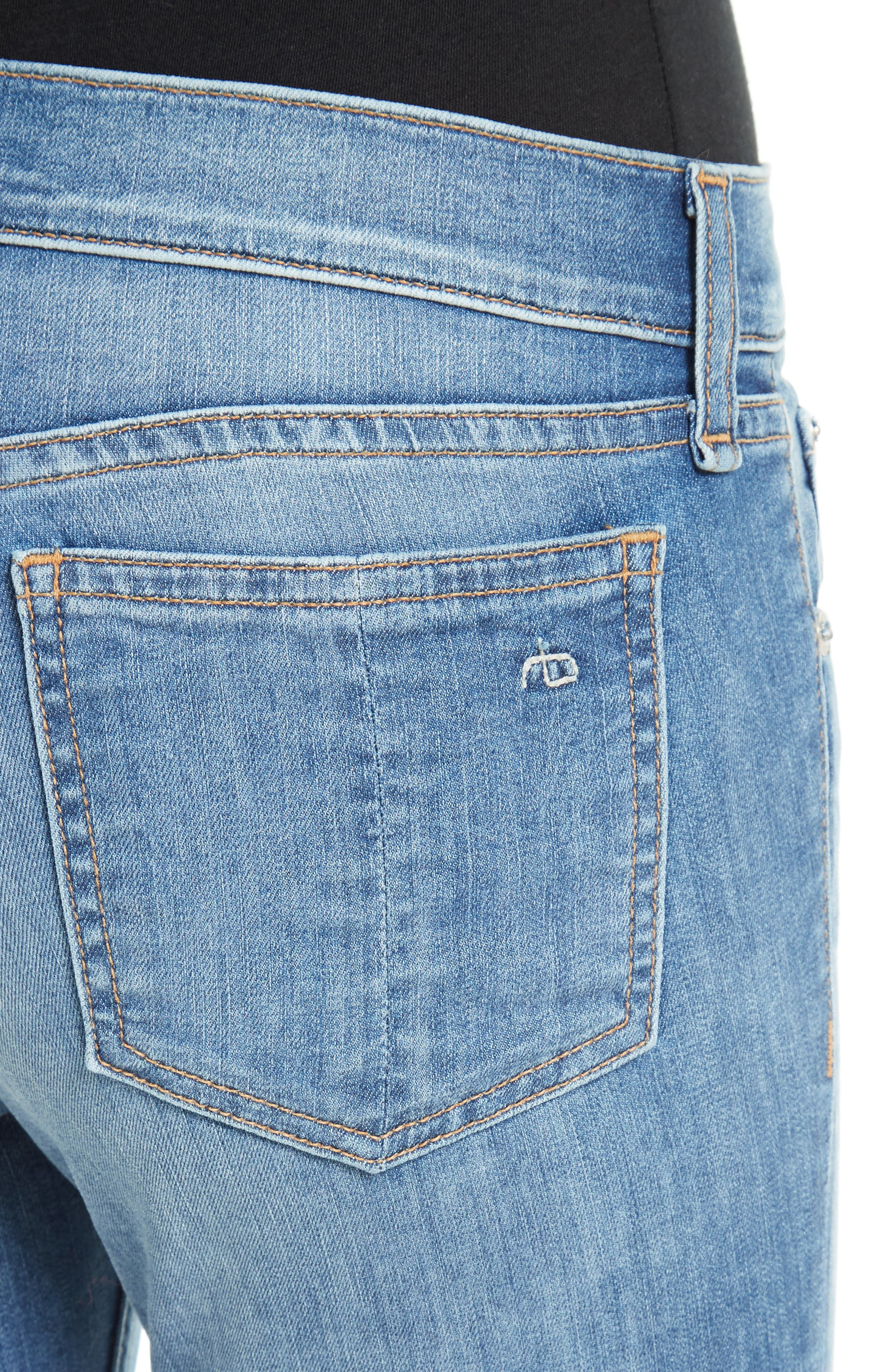 Capri Skinny Jeans,                             Alternate thumbnail 4, color,                             CLEAN LILLY DALE
