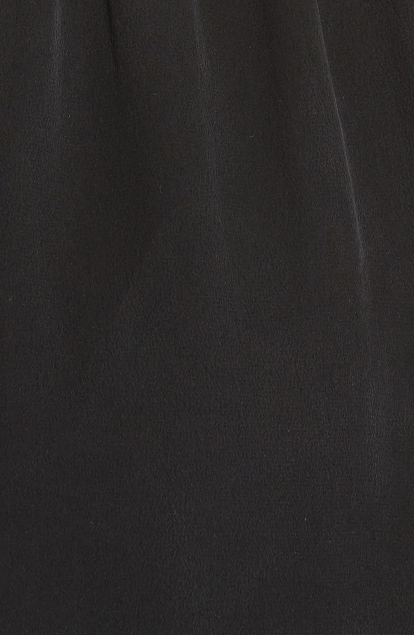 VINCE,                             Draped Silk Cross Front Dress,                             Alternate thumbnail 5, color,                             001