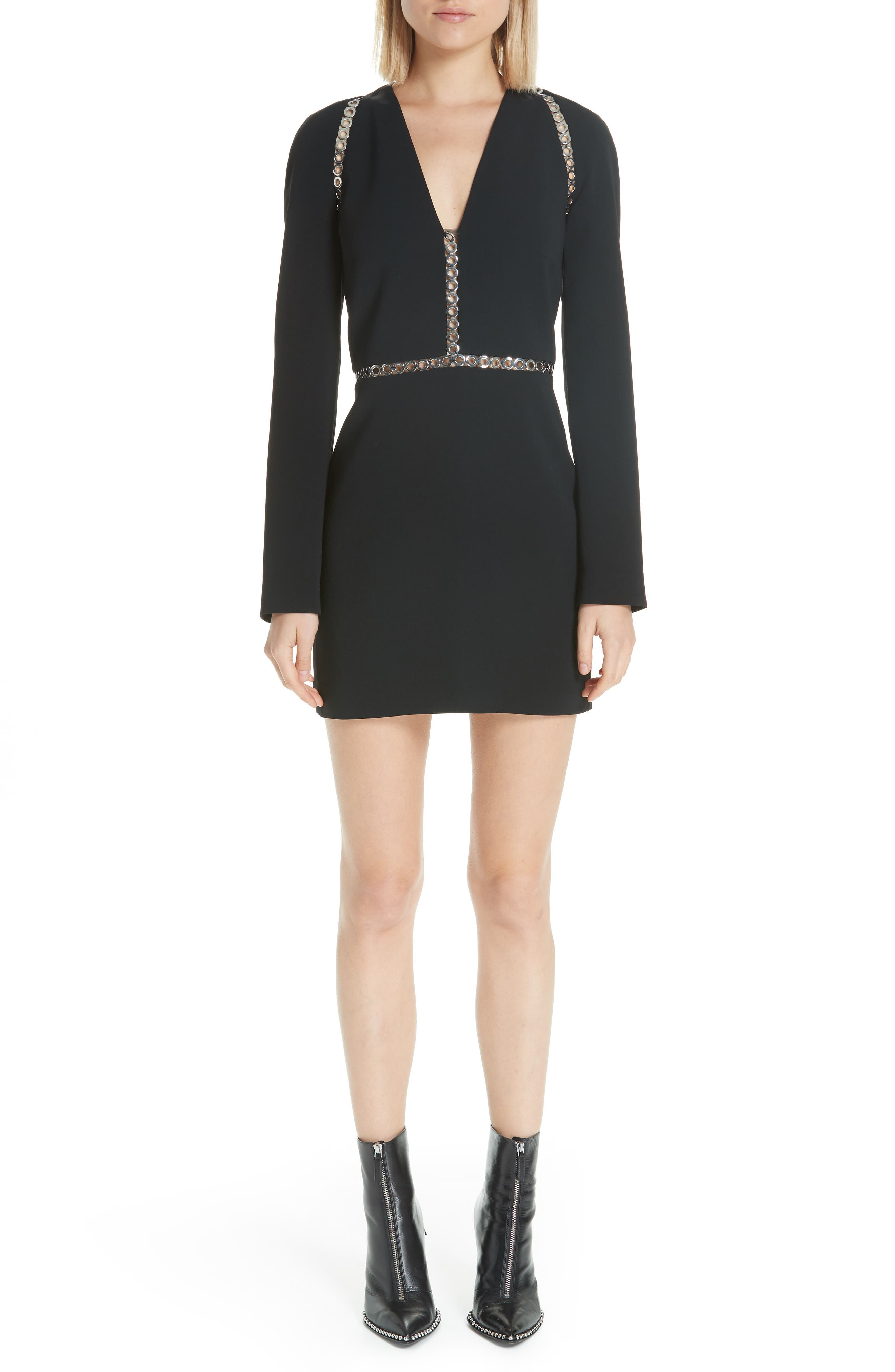 Alexander Wang Grommet Trim Minidress, Black