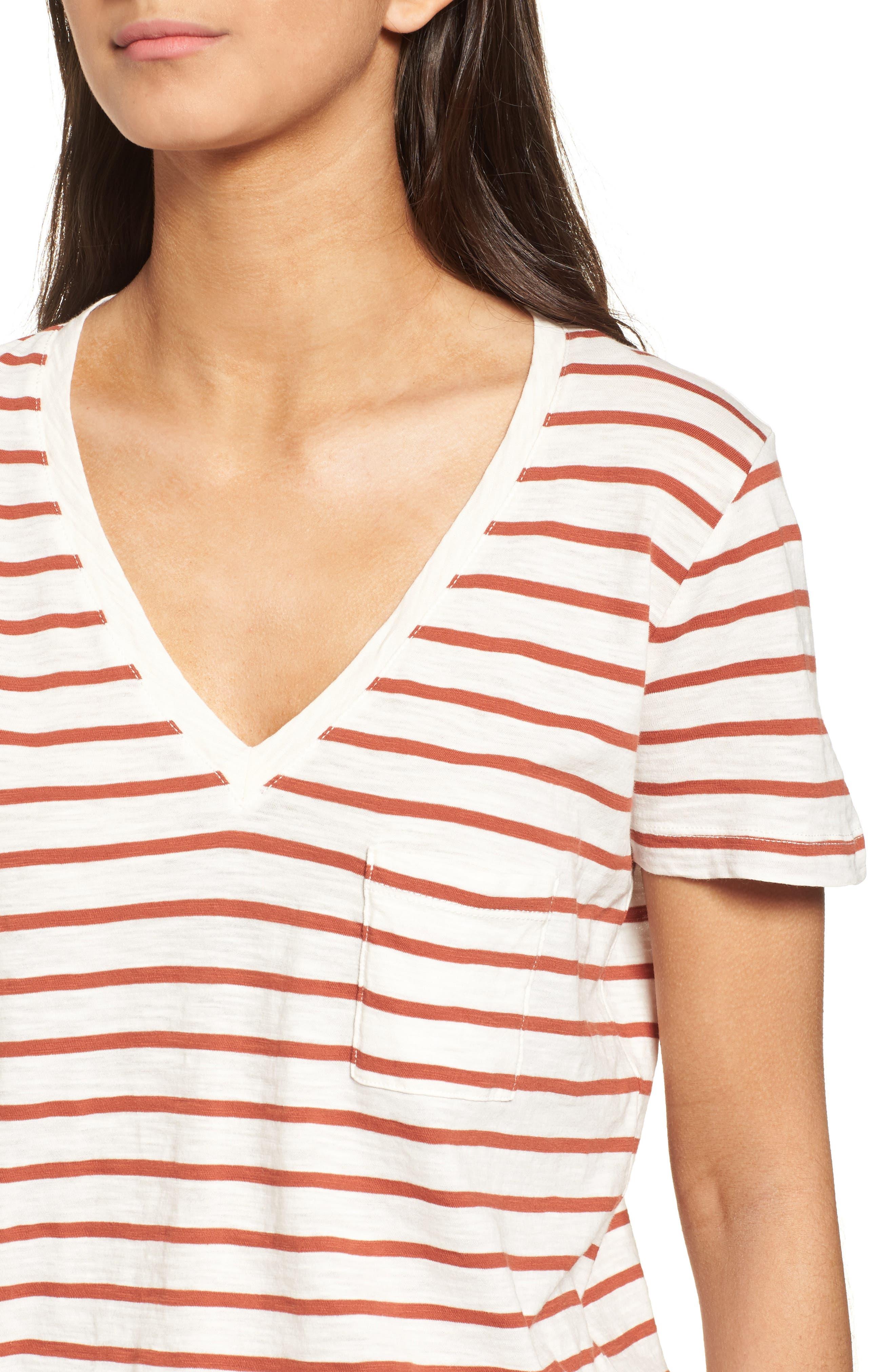 Whisper Cotton Stripe V-Neck Tee,                             Alternate thumbnail 4, color,                             100