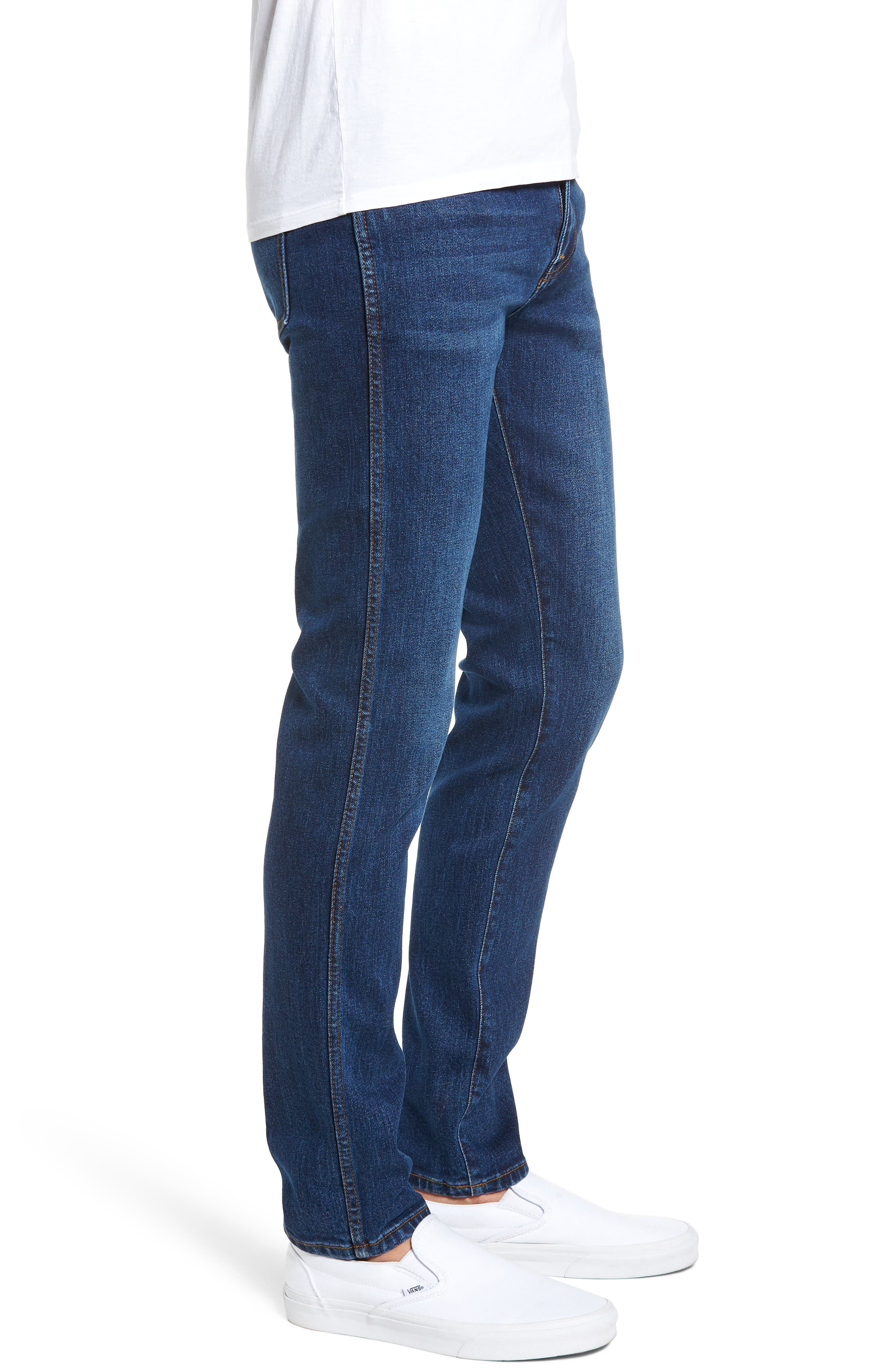 Snap Skinny Fit Jeans,                             Alternate thumbnail 3, color,                             DARK SHADED BLUE