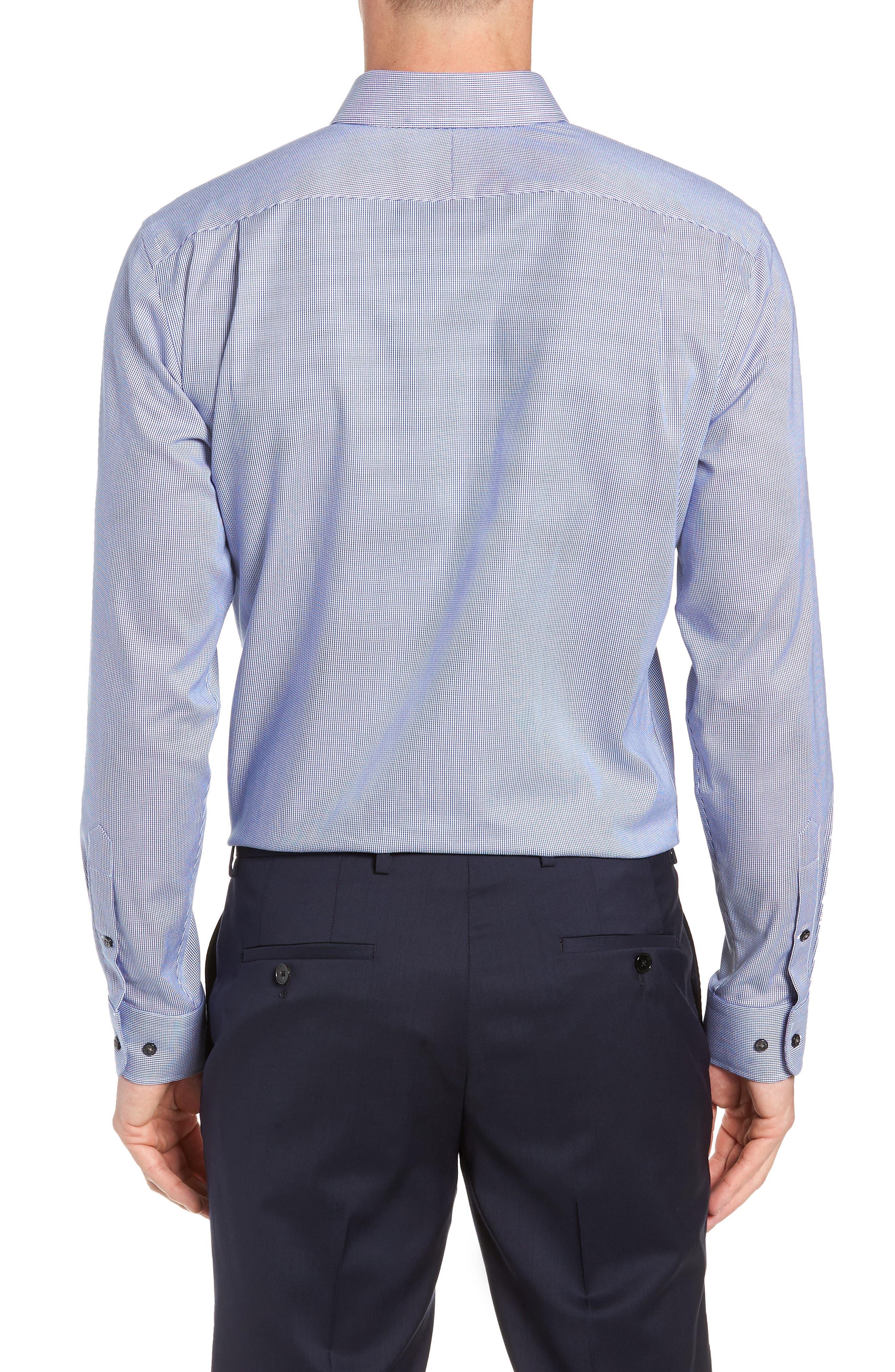 Trim Fit Non-Iron Solid Dress Shirt,                             Alternate thumbnail 3, color,                             NAVY DRESS