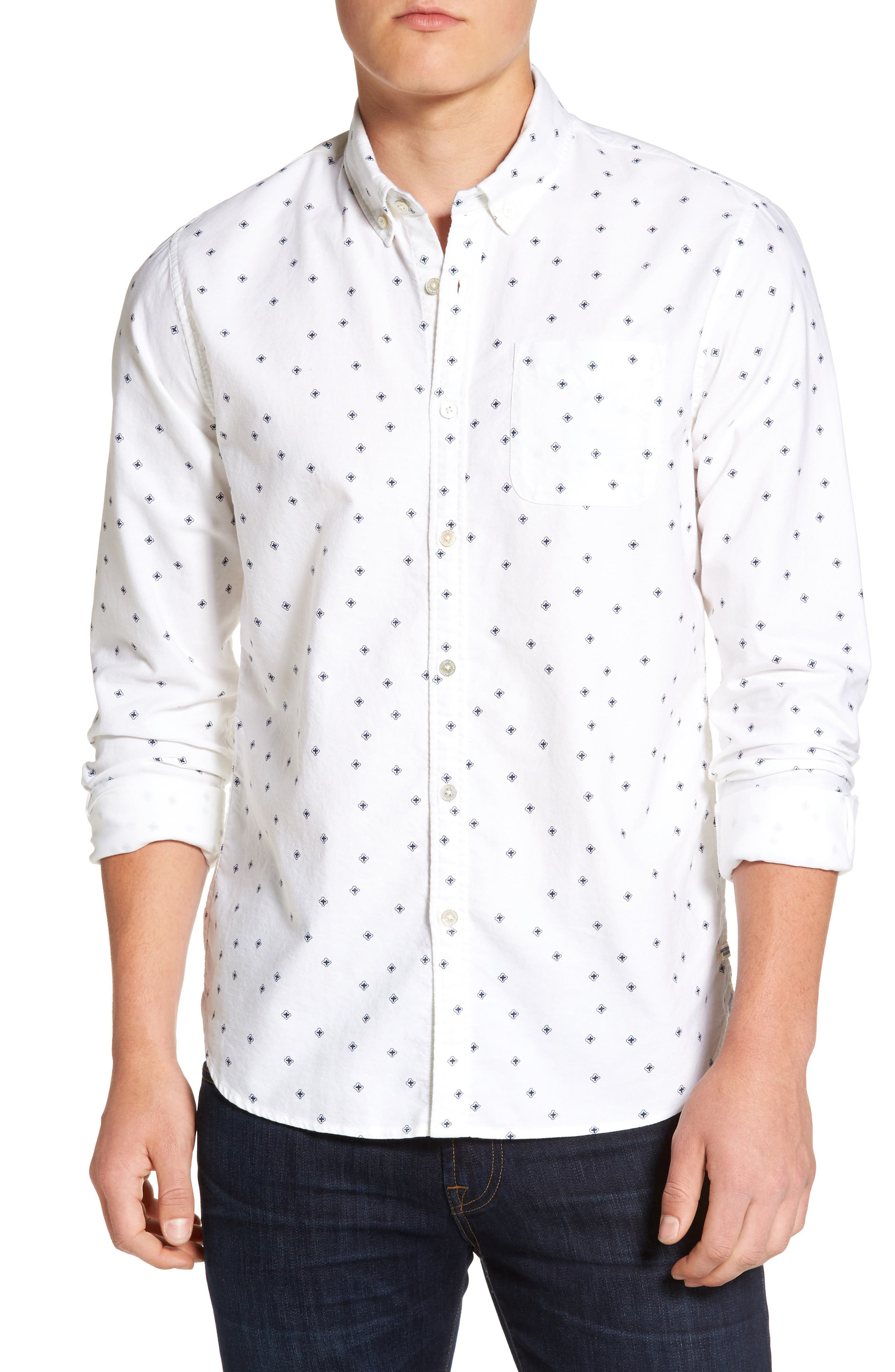 Slim Fit Allover Print Shirt,                             Main thumbnail 1, color,                             110
