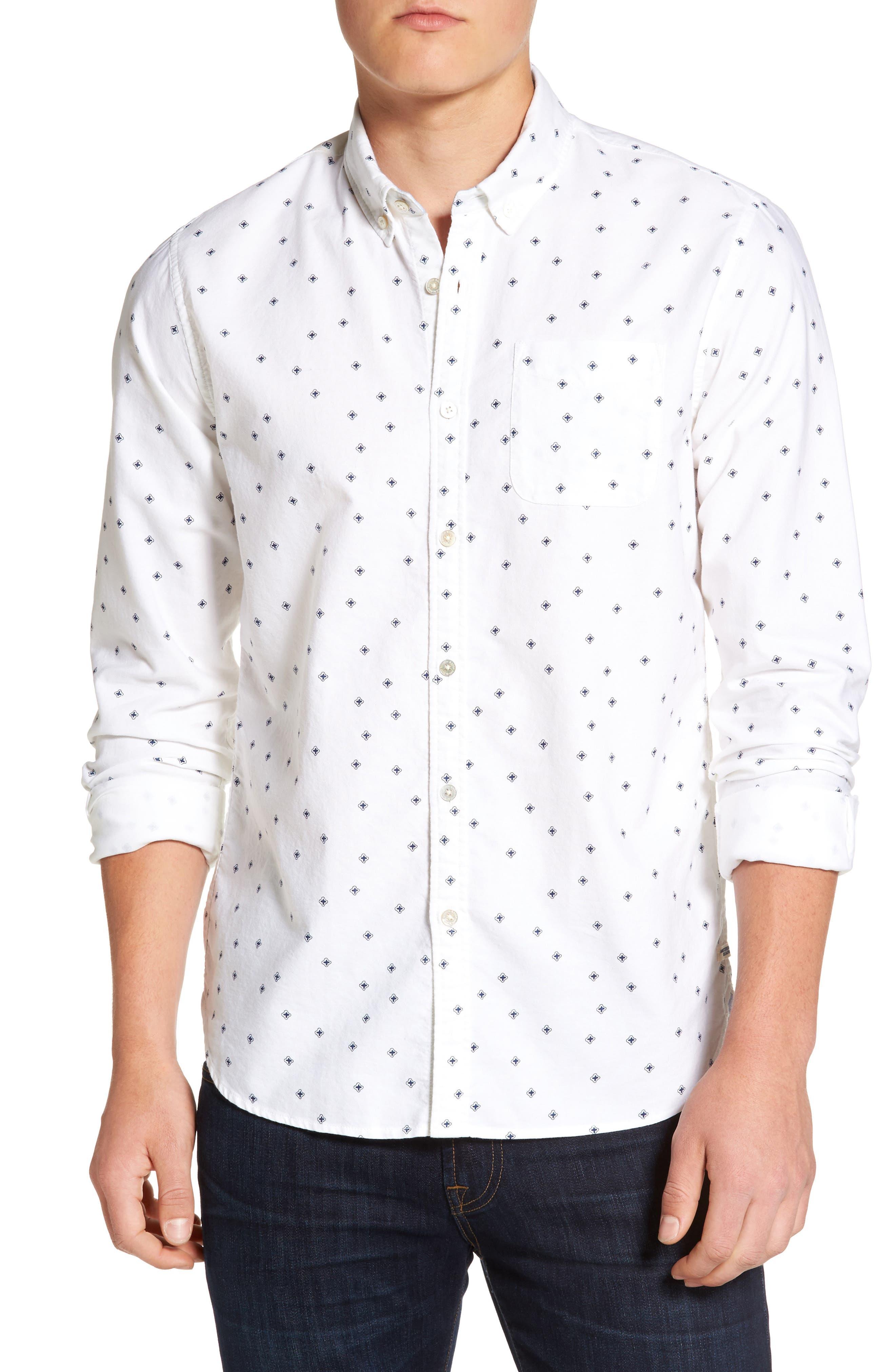 Slim Fit Allover Print Shirt,                         Main,                         color, 110