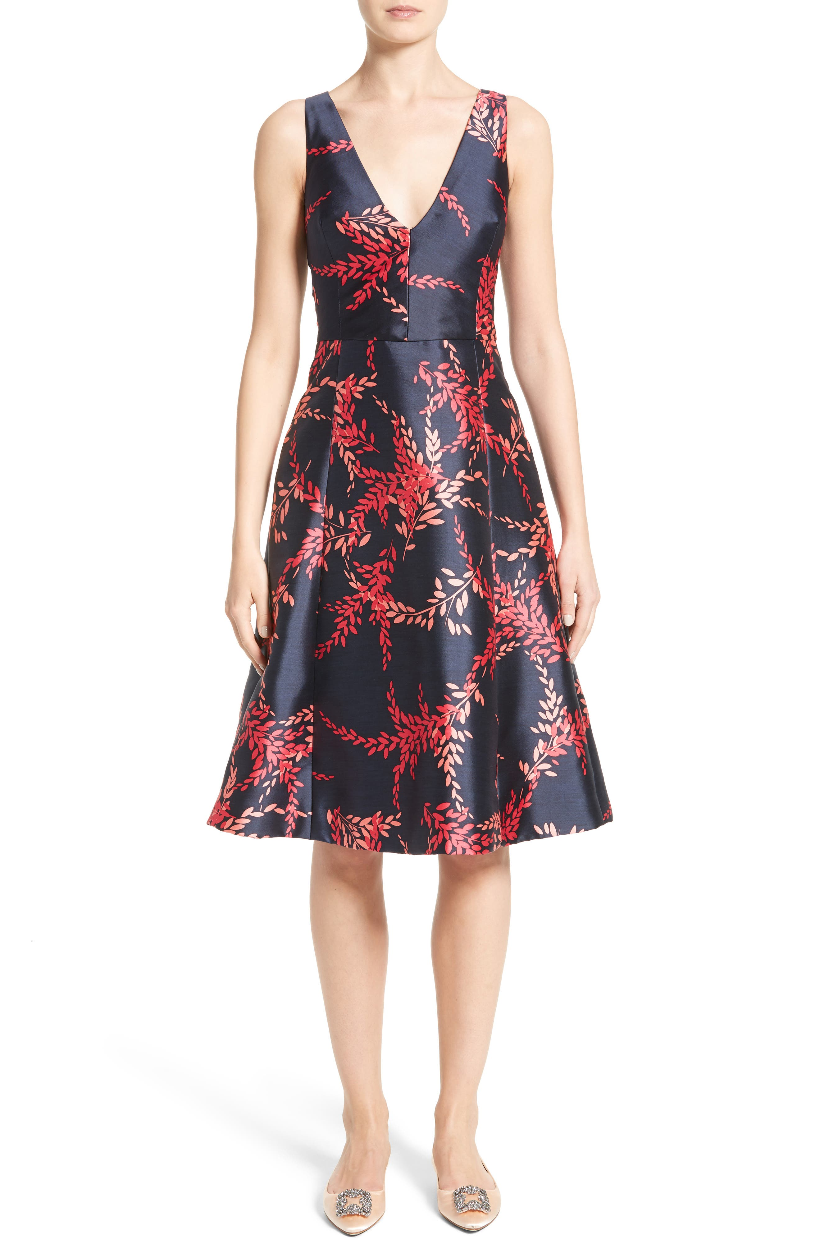 Leaf Print Silk & Cotton Dress,                             Main thumbnail 1, color,                             415