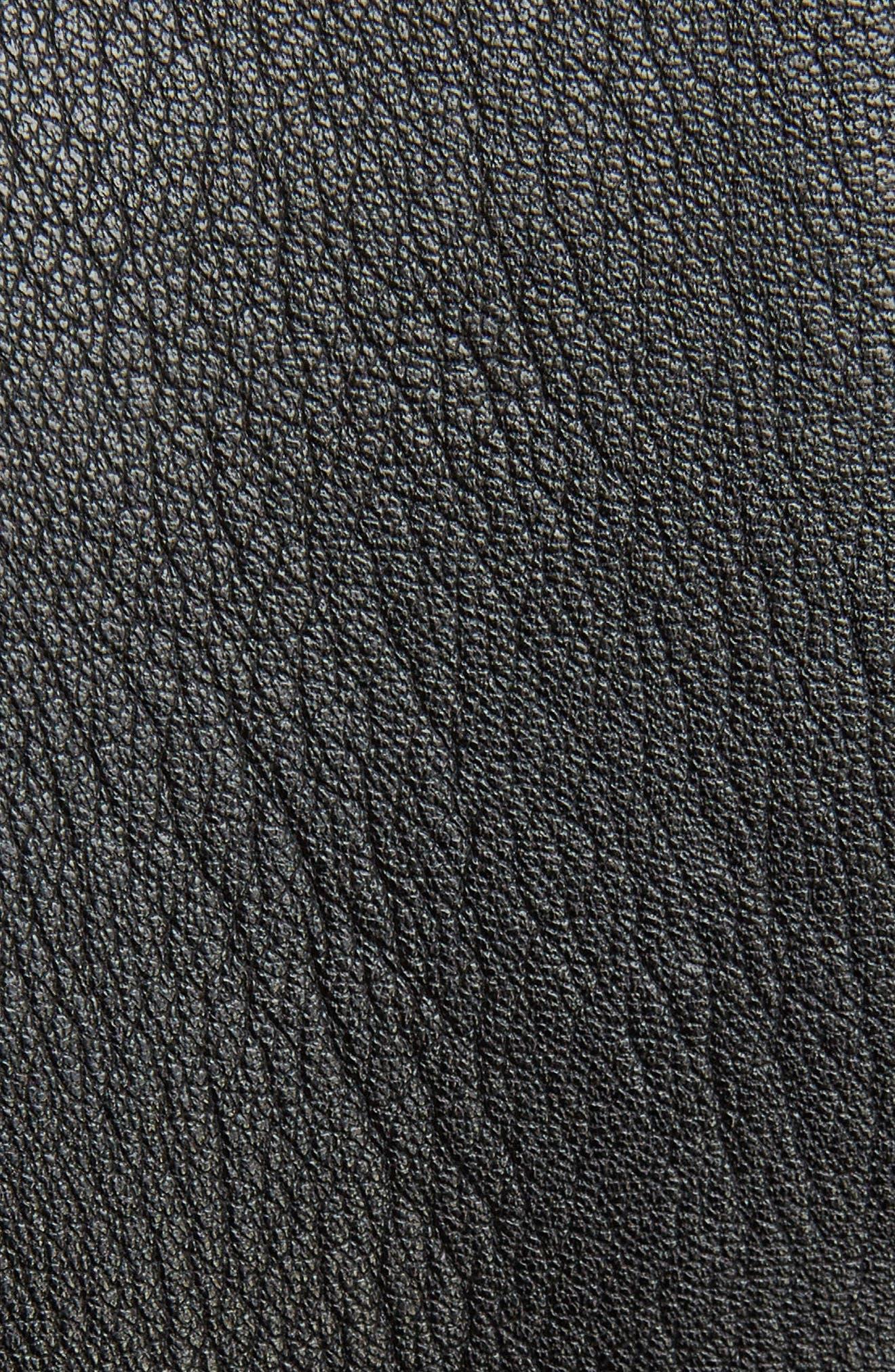 V-Neck Leather Biker Jacket,                             Alternate thumbnail 5, color,                             BLACK