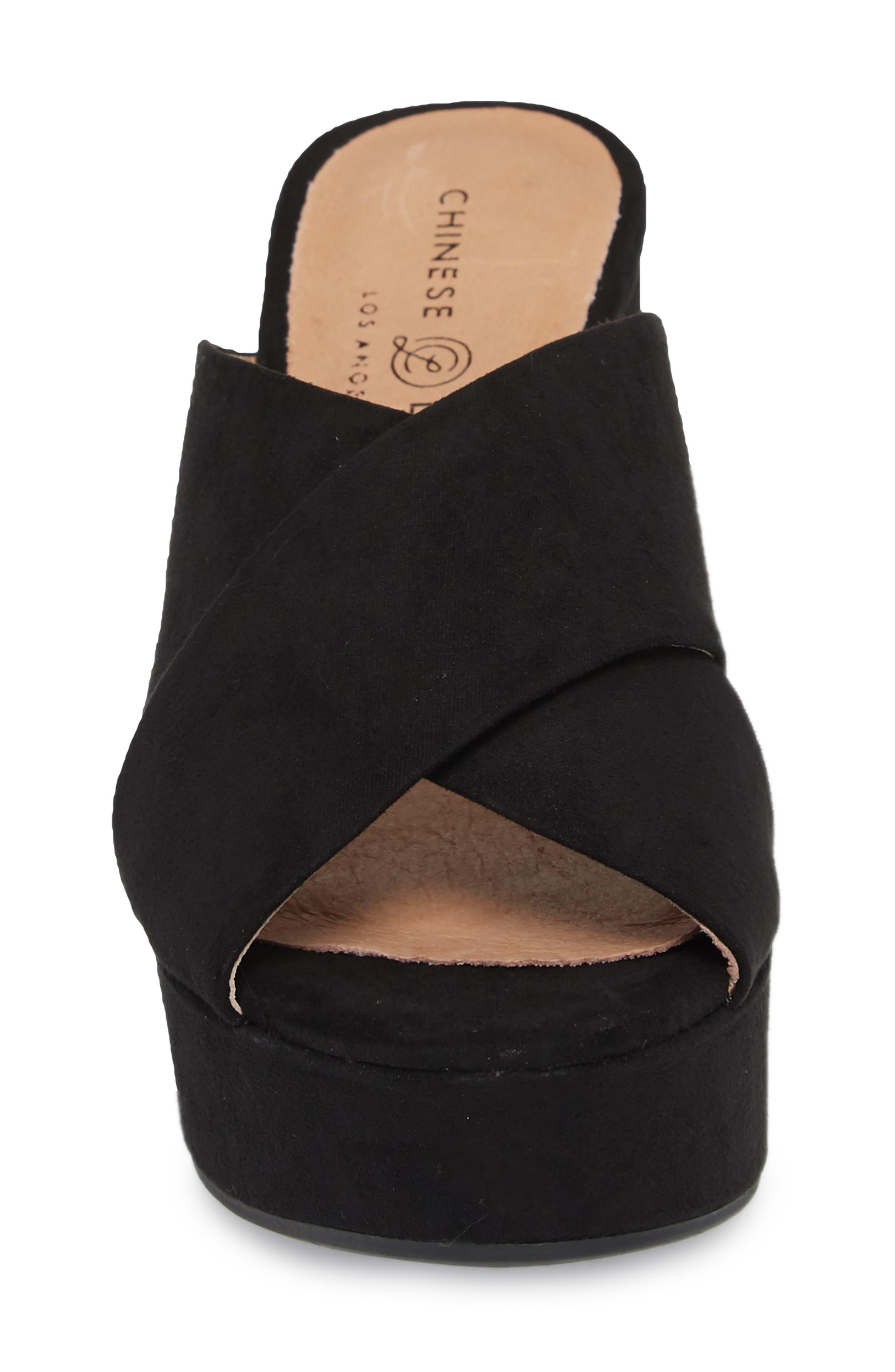 Teagan Cross Strap Platform Sandal,                             Alternate thumbnail 4, color,                             BLACK