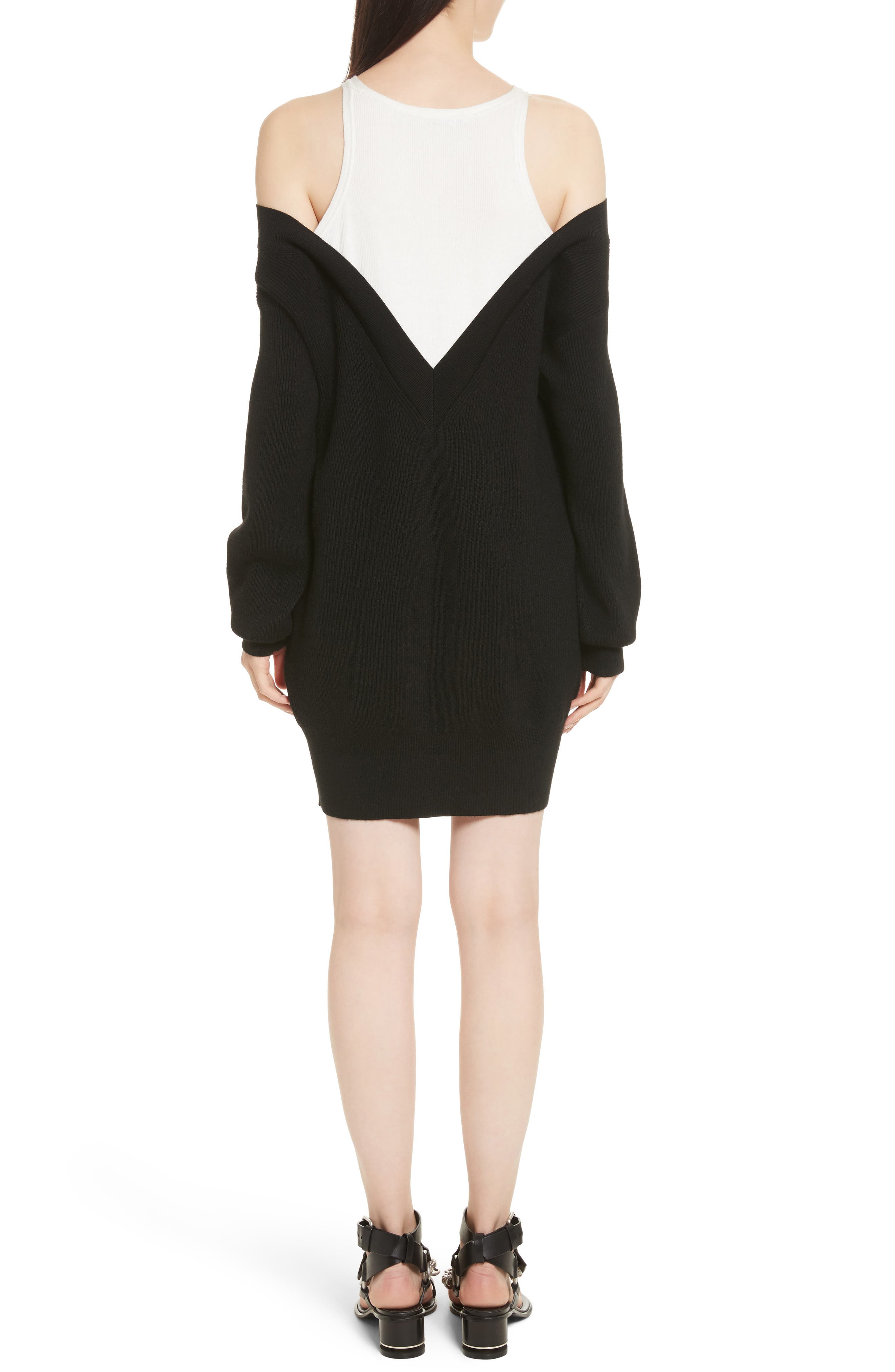 T by Alexander Wang Bi-Layer Knit Dress with Inner Tank,                             Alternate thumbnail 2, color,                             018