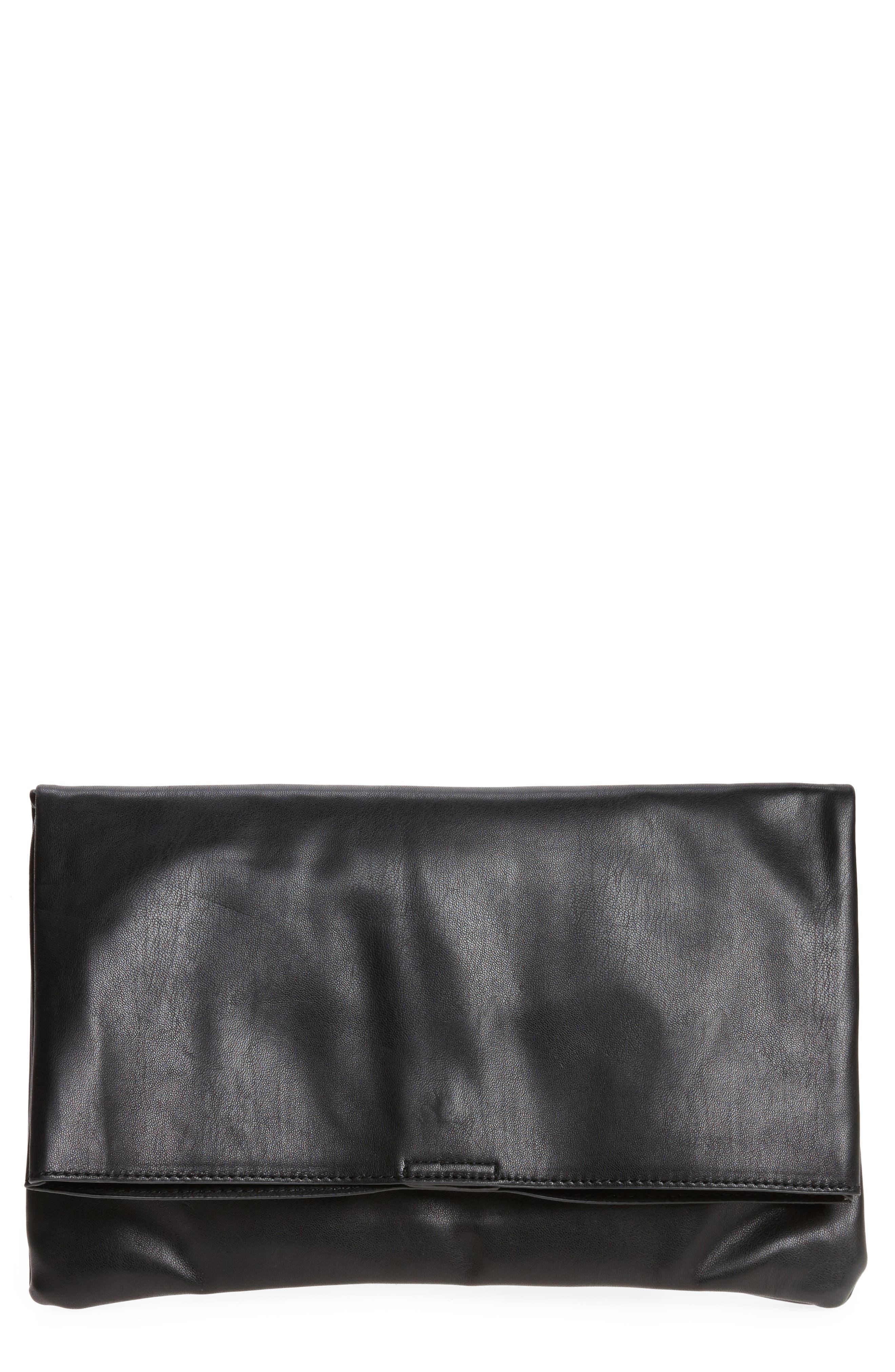 Melrose Faux Leather Clutch,                             Main thumbnail 1, color,                             001