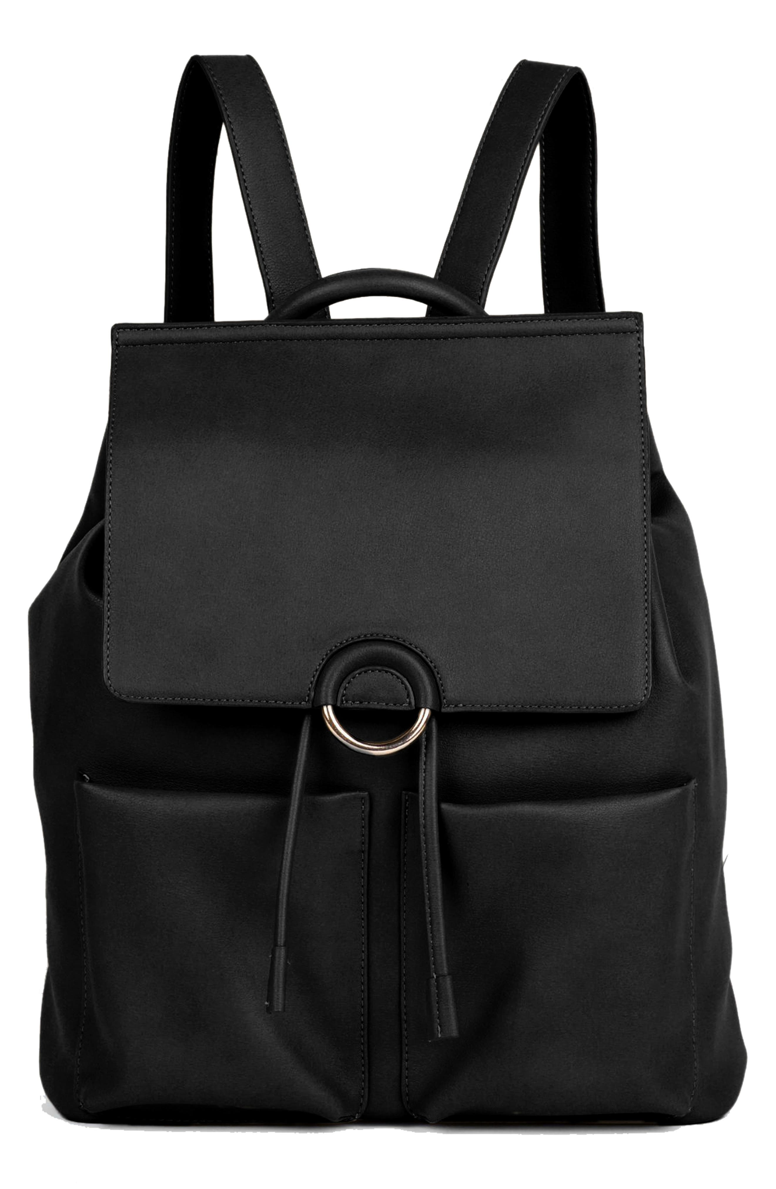 The Thrill Vegan Leather Backpack, Main, color, BLACK