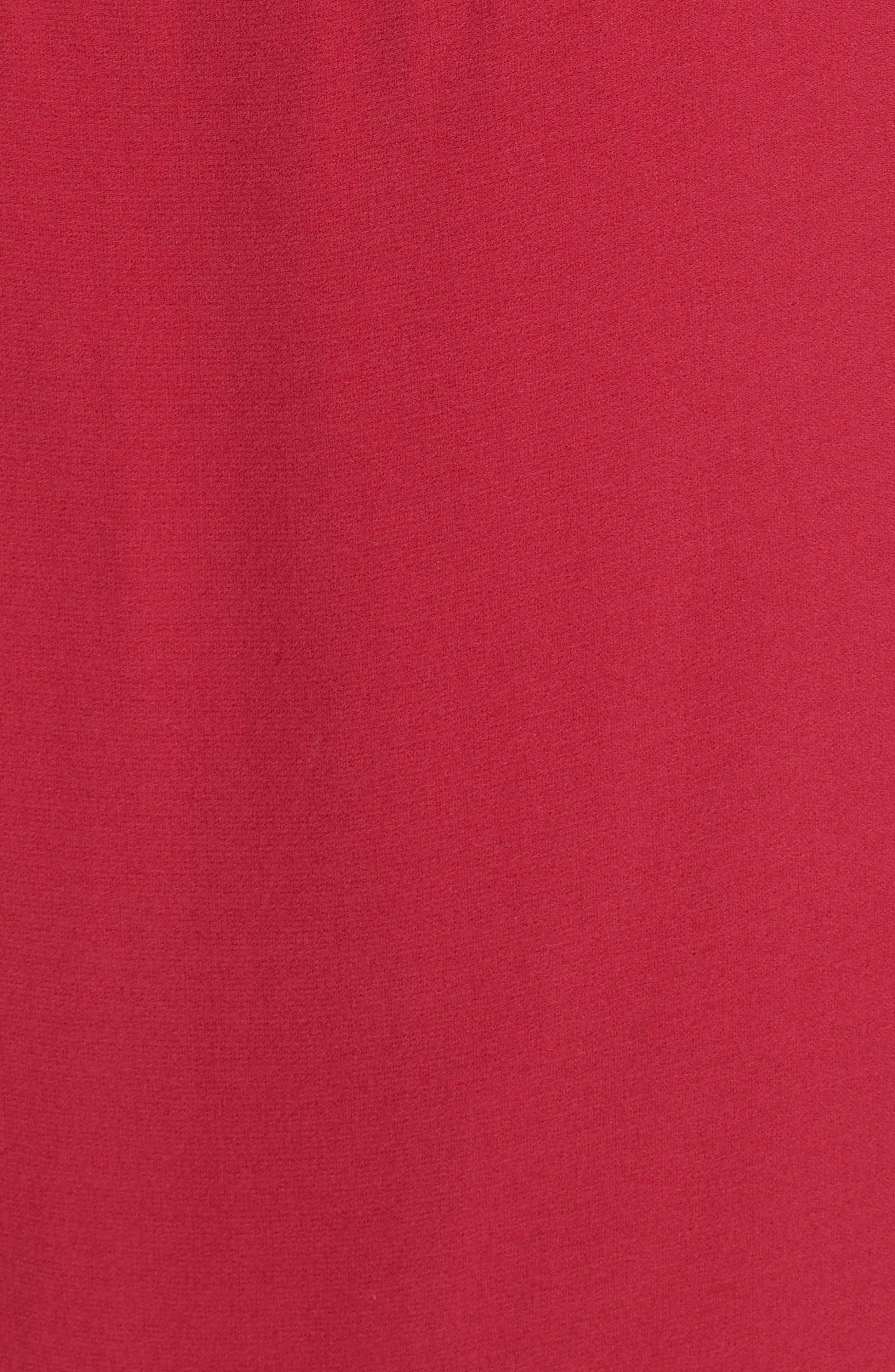 Long Bateau Neck Silk Shell,                             Alternate thumbnail 5, color,                             RADISH
