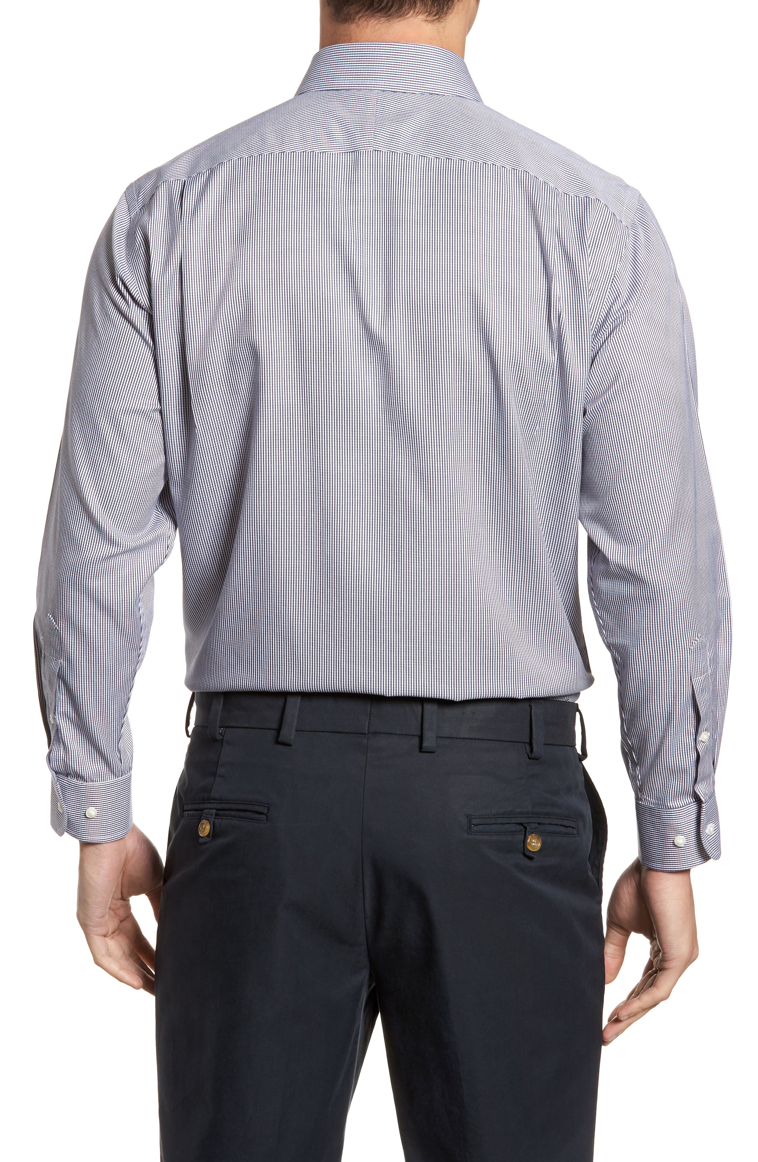 Smartcare<sup>™</sup> Traditional Fit Stripe Dress Shirt,                             Alternate thumbnail 7, color,
