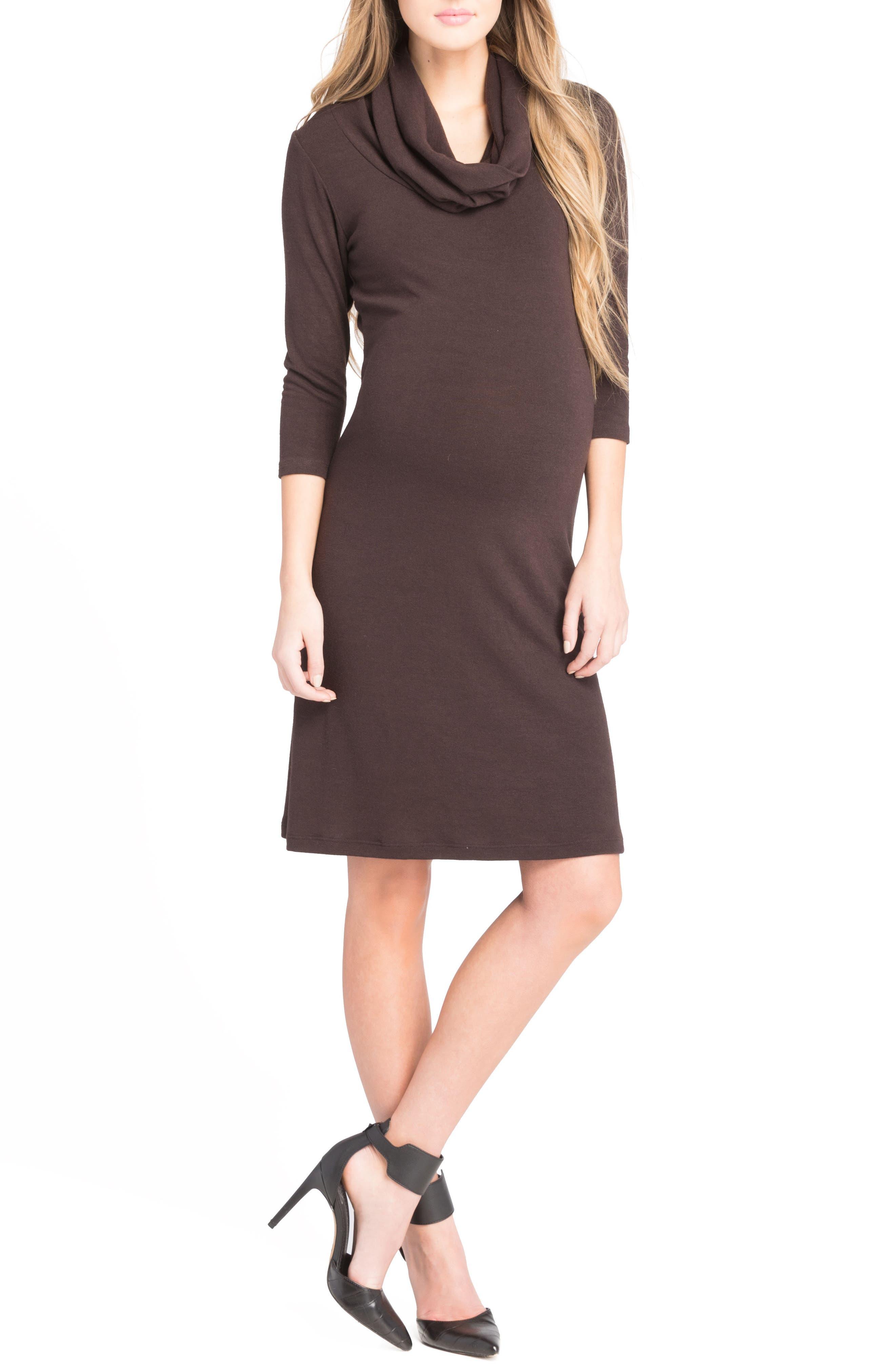 Cowl Neck Maternity Dress,                             Alternate thumbnail 8, color,