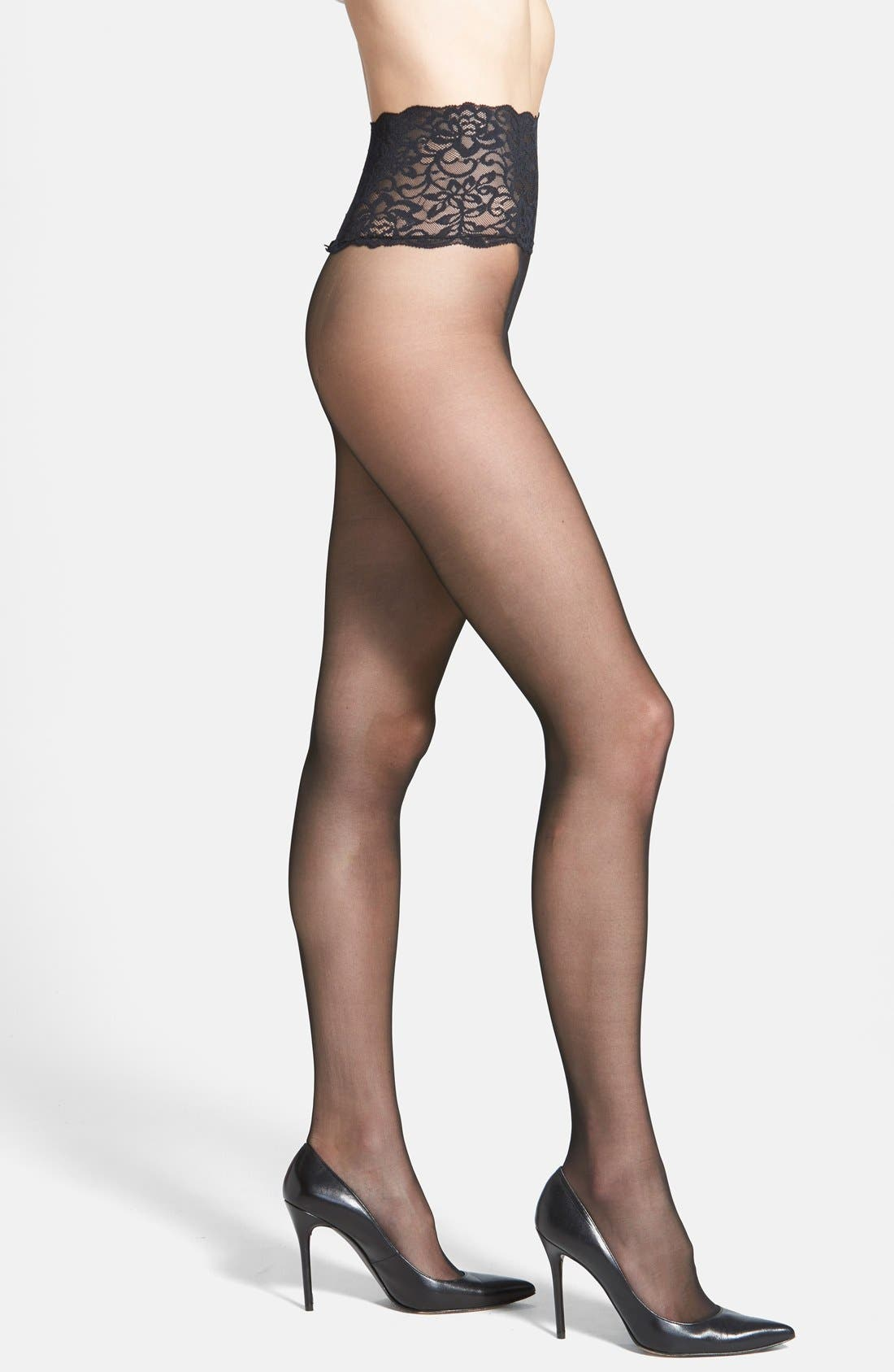 The Sexy Sheer Pantyhose,                             Main thumbnail 1, color,                             BLACK