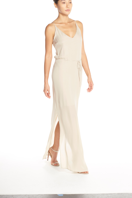 'Harlow' Belted Silk Georgette Deep V-Back Gown,                             Alternate thumbnail 6, color,                             NUDE