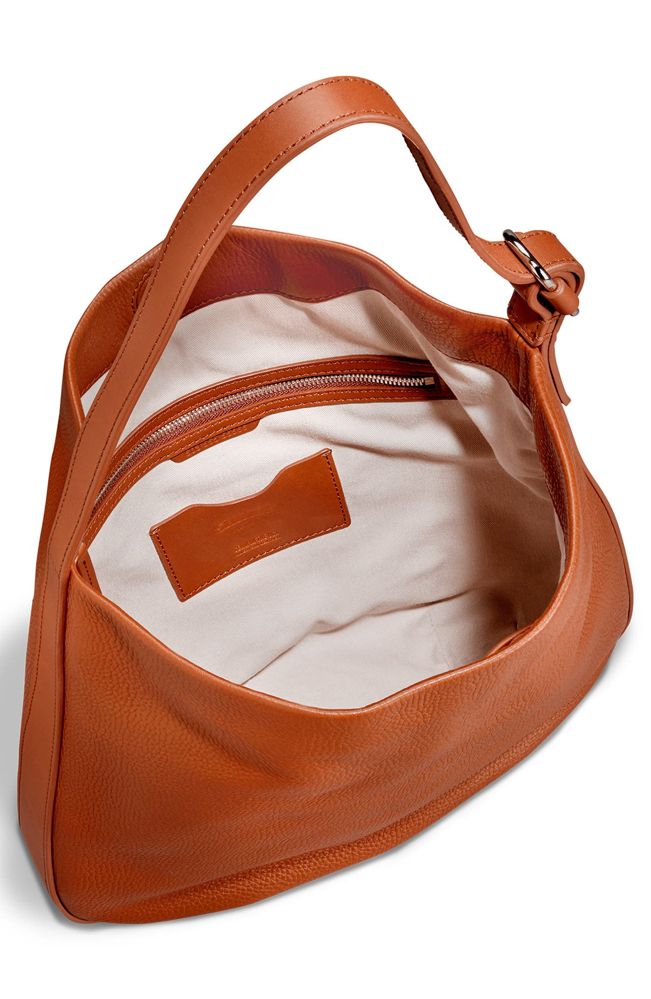 Birdy Grained Leather Hobo Bag,                             Alternate thumbnail 4, color,                             BOURBON