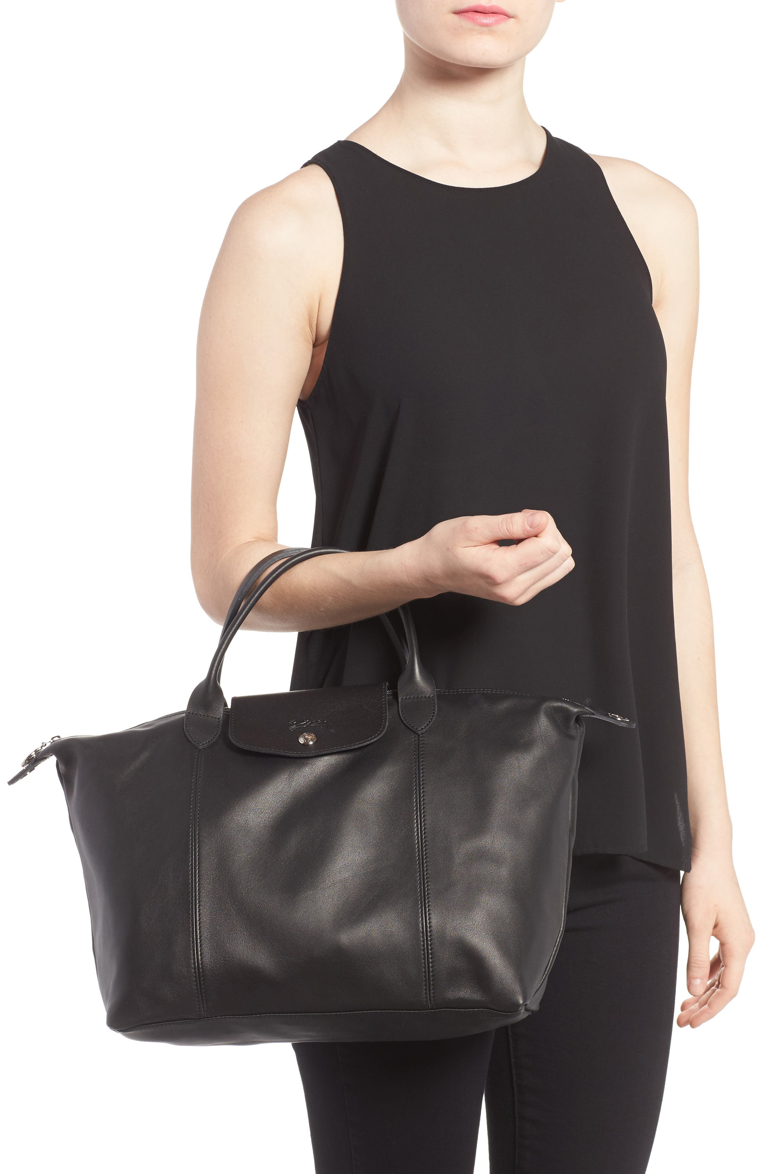 Medium 'Le Pliage Cuir' Leather Top Handle Tote,                             Alternate thumbnail 3, color,                             BLACK