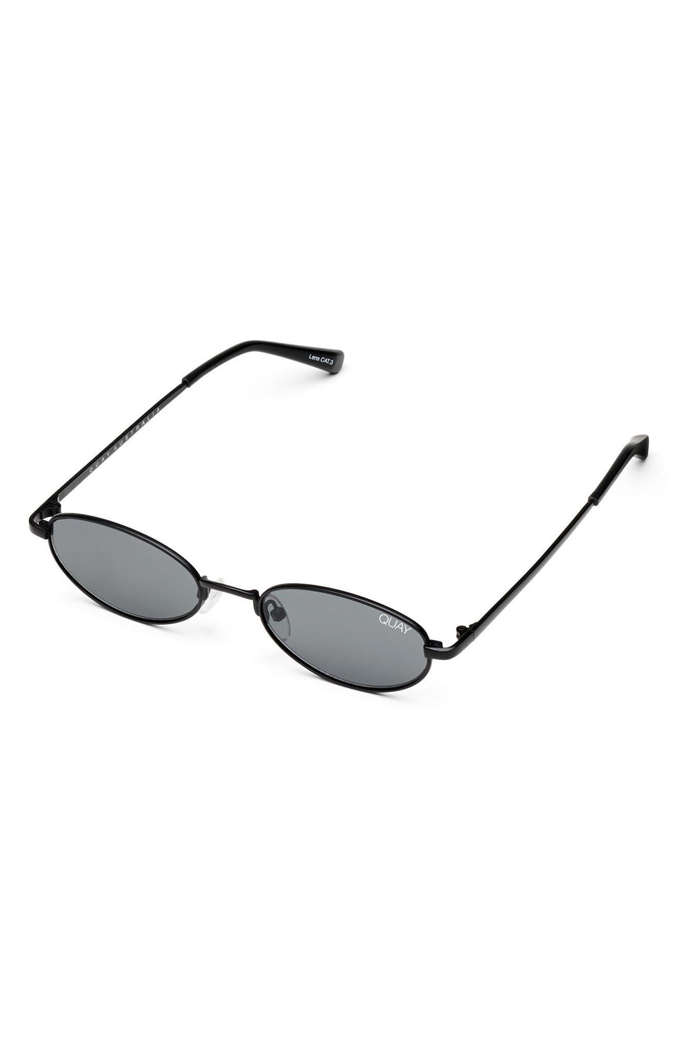 49mm Showdown Oval Sunglasses,                             Alternate thumbnail 4, color,                             BLACK/ SMOKE