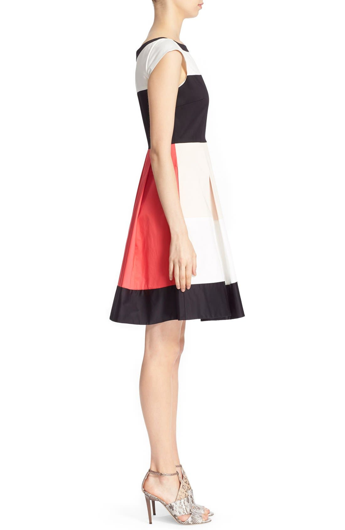 'adette' colorblock fit & flare dress,                             Alternate thumbnail 3, color,                             110