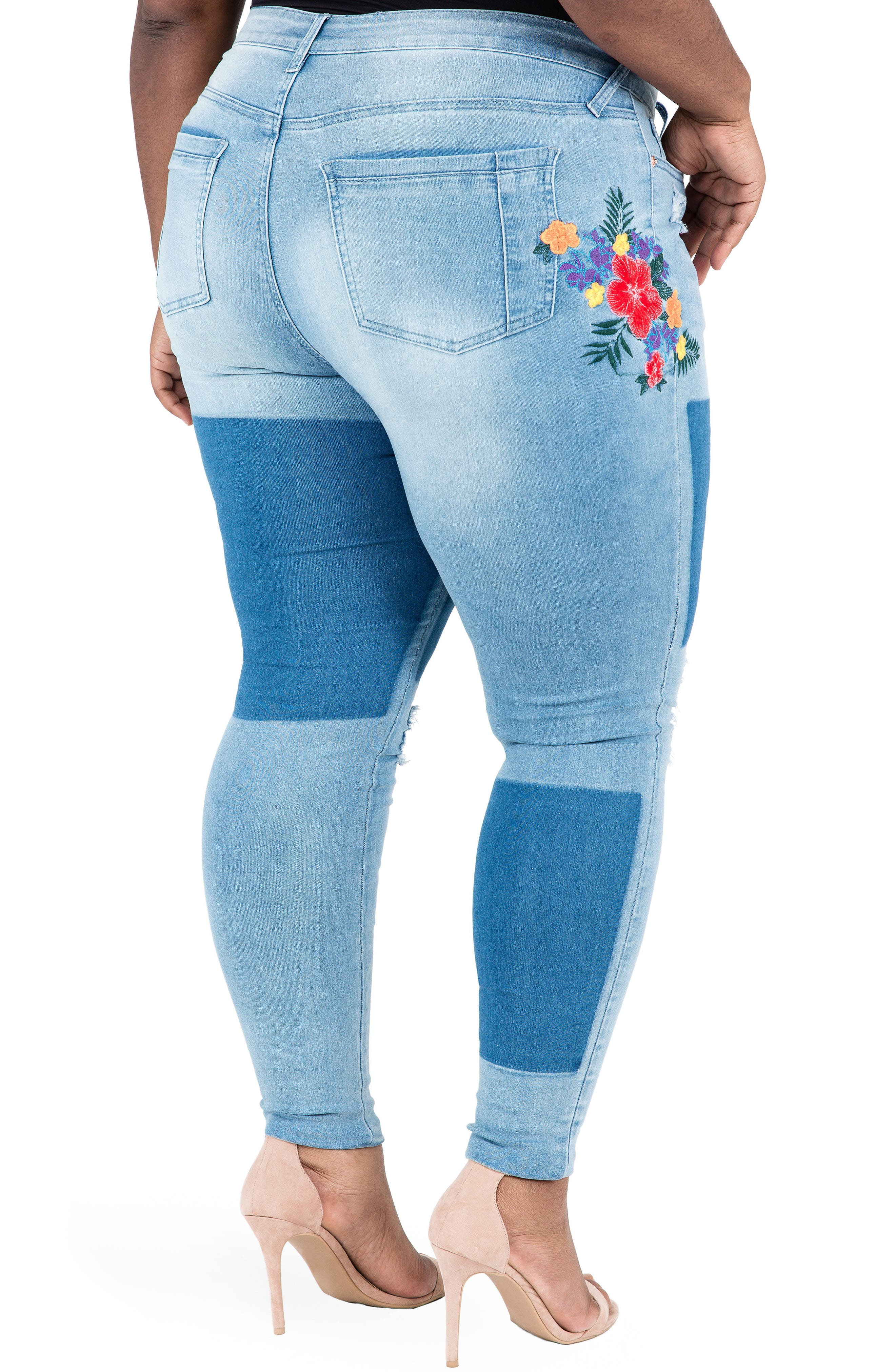 Madison Ripped & Embroidered Skinny Jeans,                             Alternate thumbnail 2, color,                             BLUE