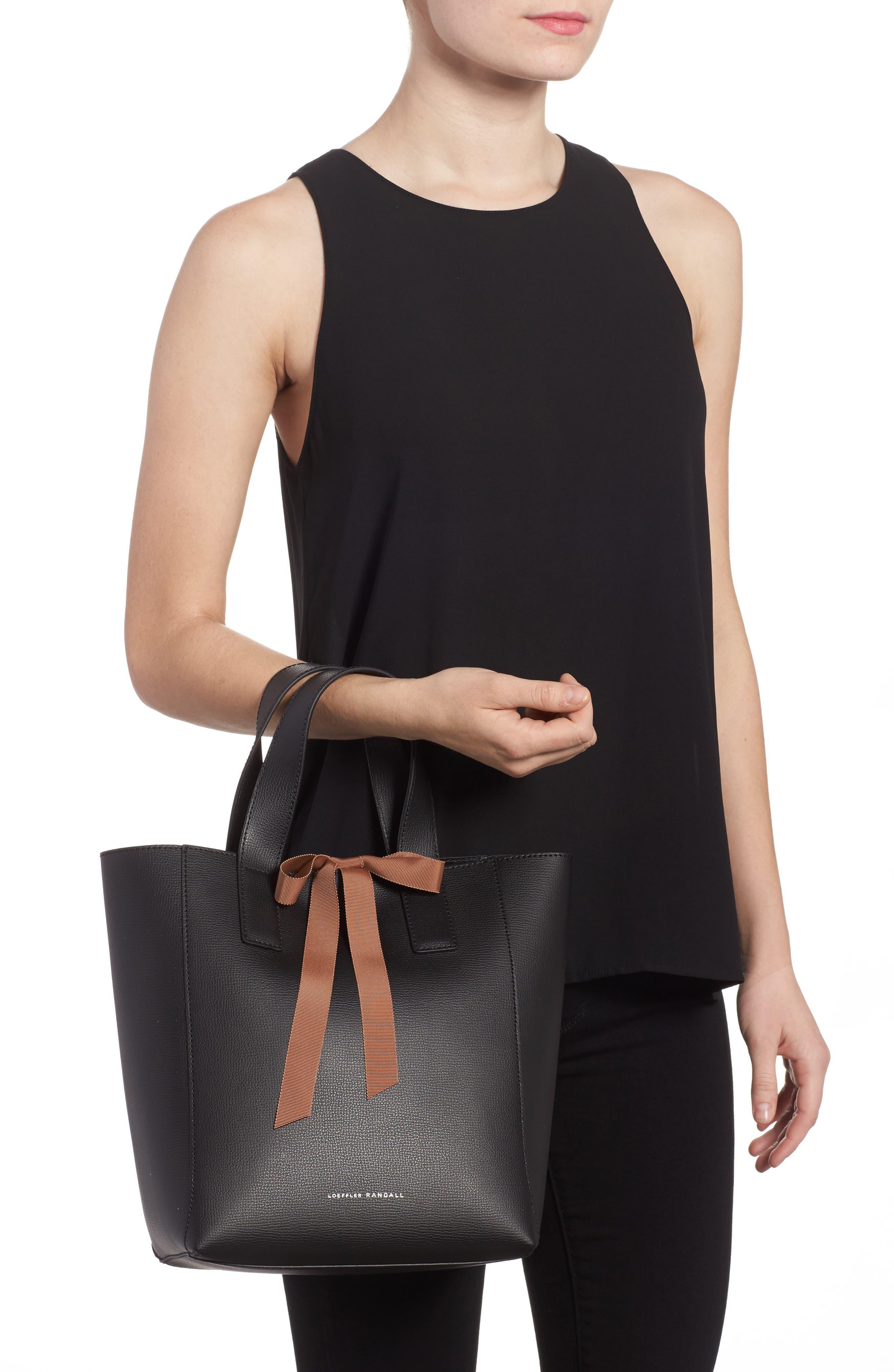 Ribbon Tie Leather Top Handle Shopper,                             Alternate thumbnail 2, color,                             008