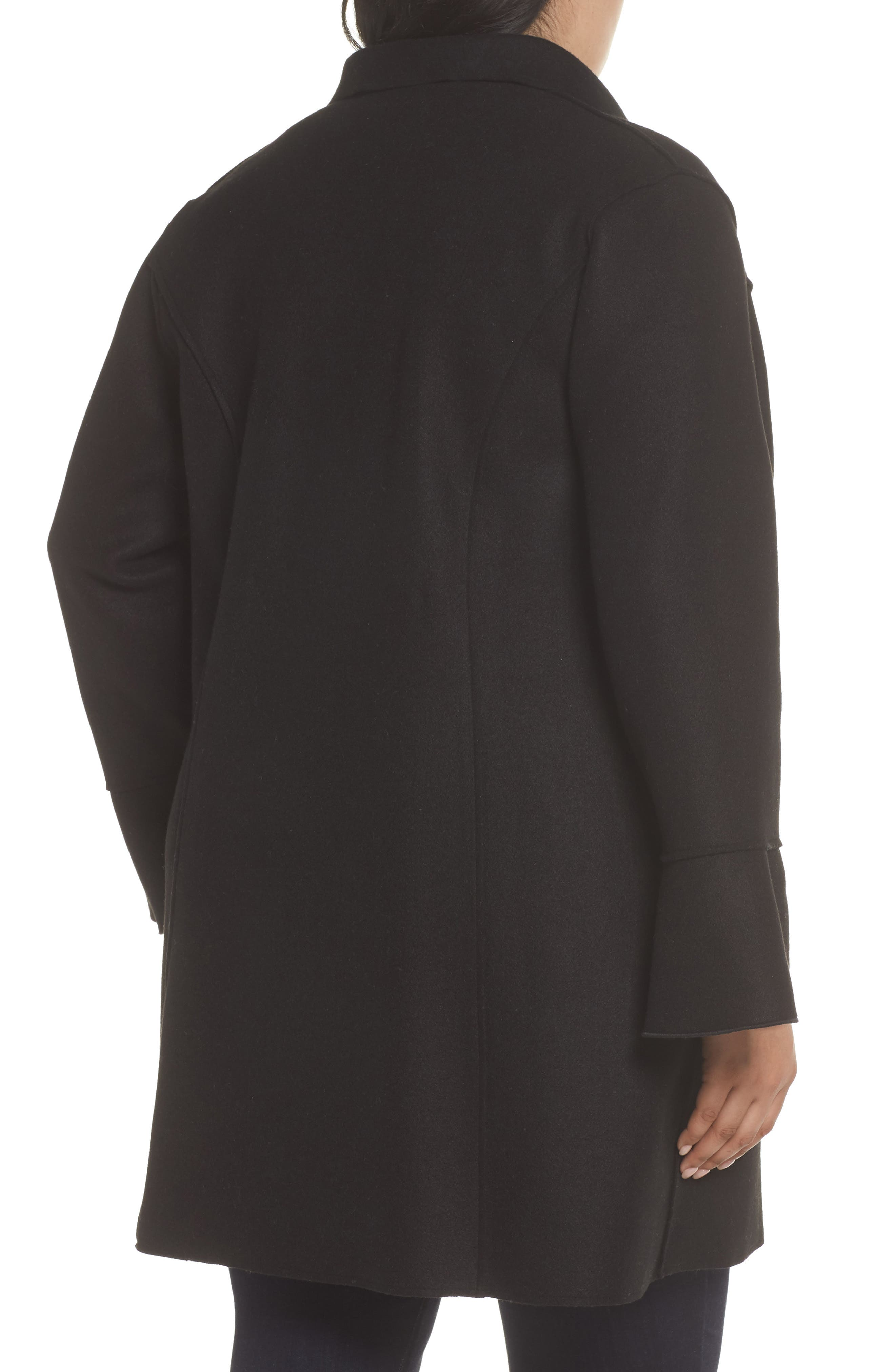 HALOGEN<SUP>®</SUP>,                             Raw Edge Bell Sleeve Coat,                             Alternate thumbnail 2, color,                             001