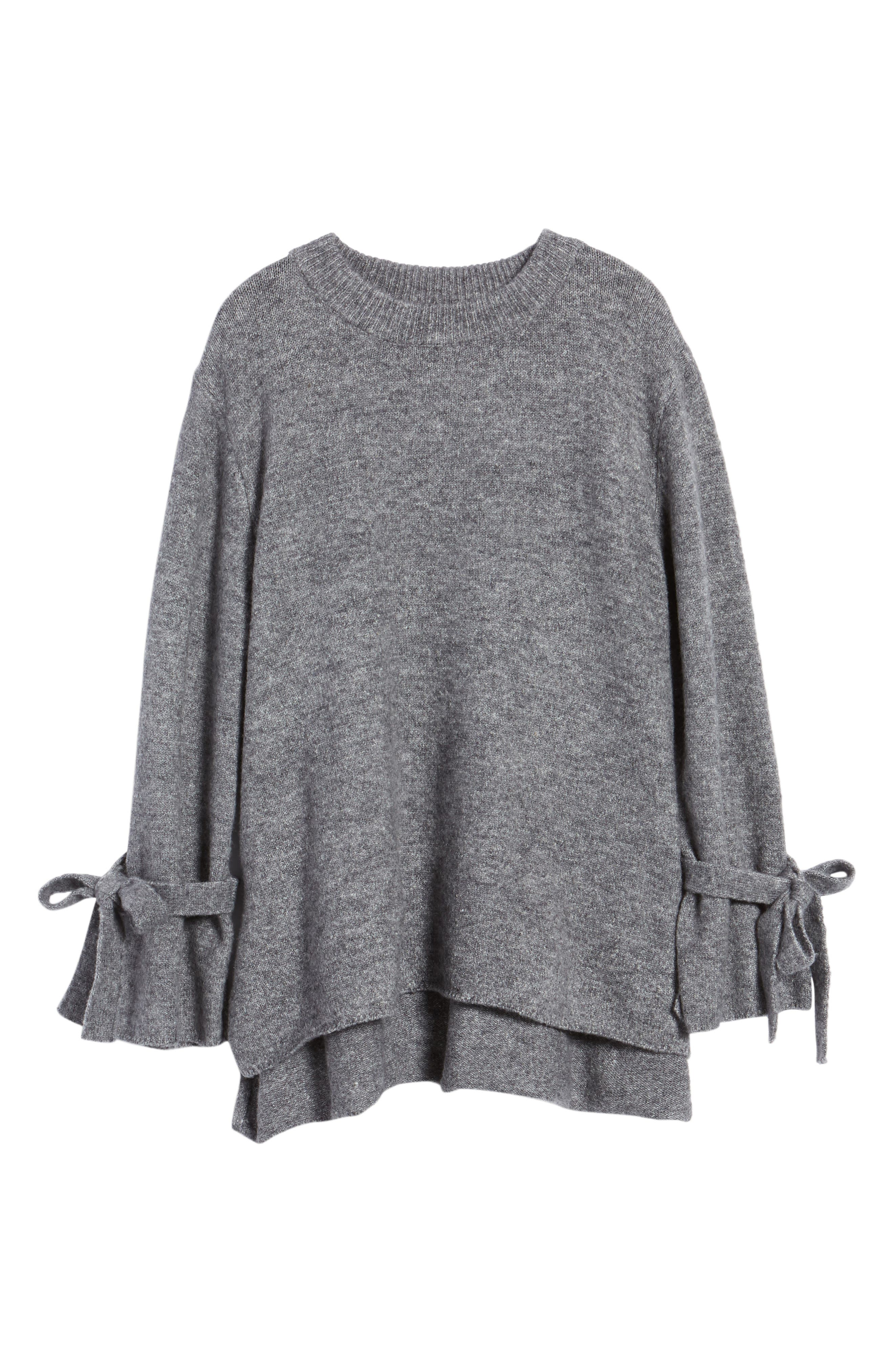 Flared Tie Sleeve Sweater,                             Alternate thumbnail 6, color,                             050